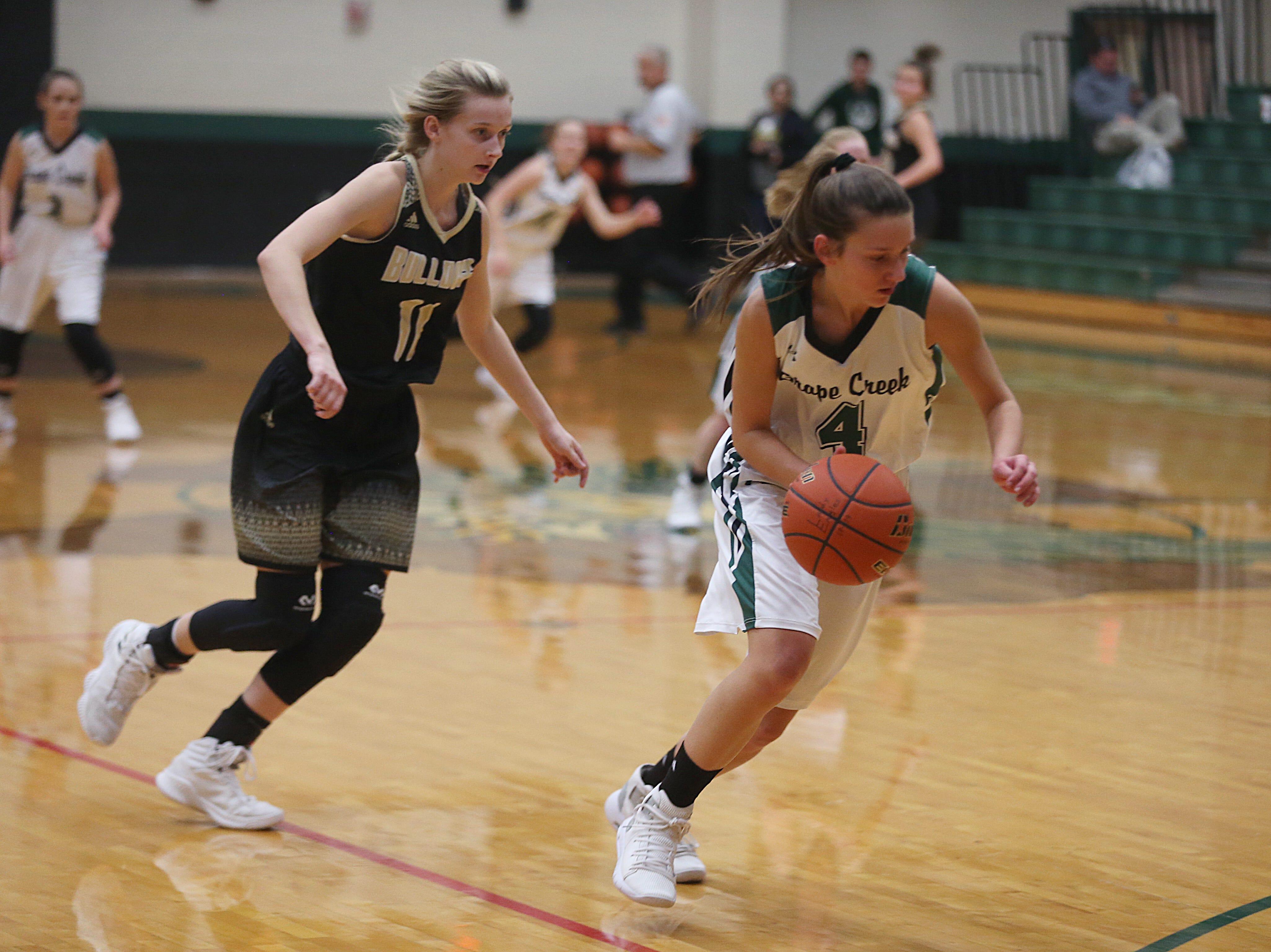 Grape Creek's Rachel Porter (#4) dribbles past Brady's K. Robbin (#11) Friday, Dec. 14, 2018 during their game in Grape Creek. Brady won 48 to 28.