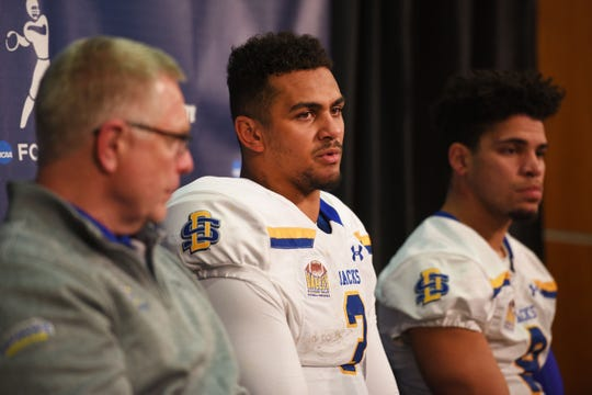 Taryn Christion meets the media for the last time in a Jackrabbit uniform after Friday's FCS playoff loss at North Dakota State