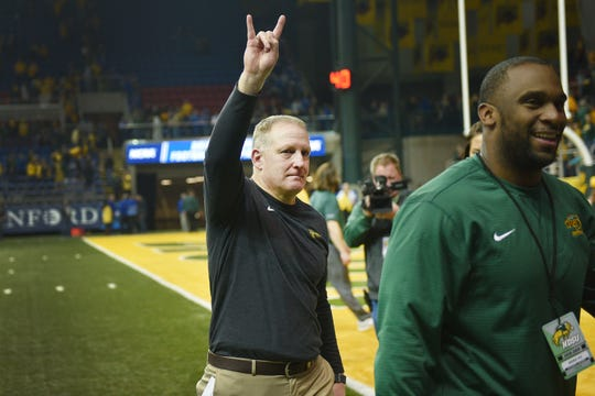 NDSU head coach Chris Klieman makes an emotional exit after his last game coaching at NDSU at the Fargodome Friday, Dec. 14, in the FCS playoffs in Fargo.