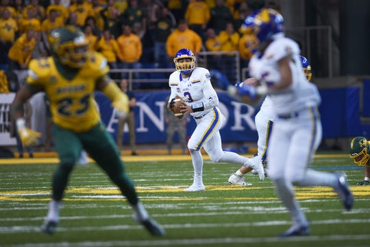 SDSU's Taryn Christion attempts to complete a pass during the game against NDSU at the Fargodome Friday, Dec. 14, in the FCS playoffs in Fargo.