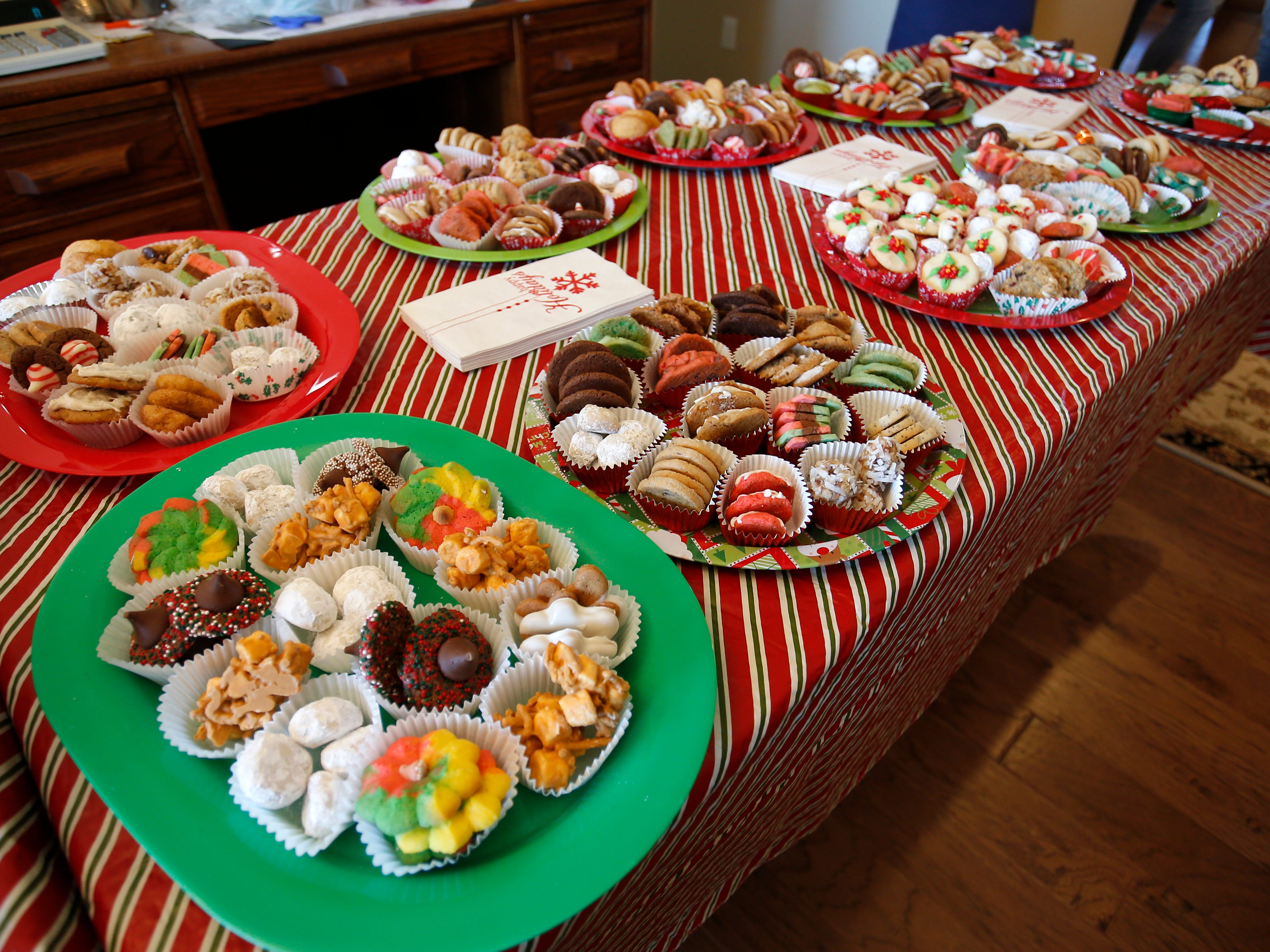 A table full of cookies at the Wotherspoon Christmas cookie extravaganza on Saturday, Dec. 15, 2018.