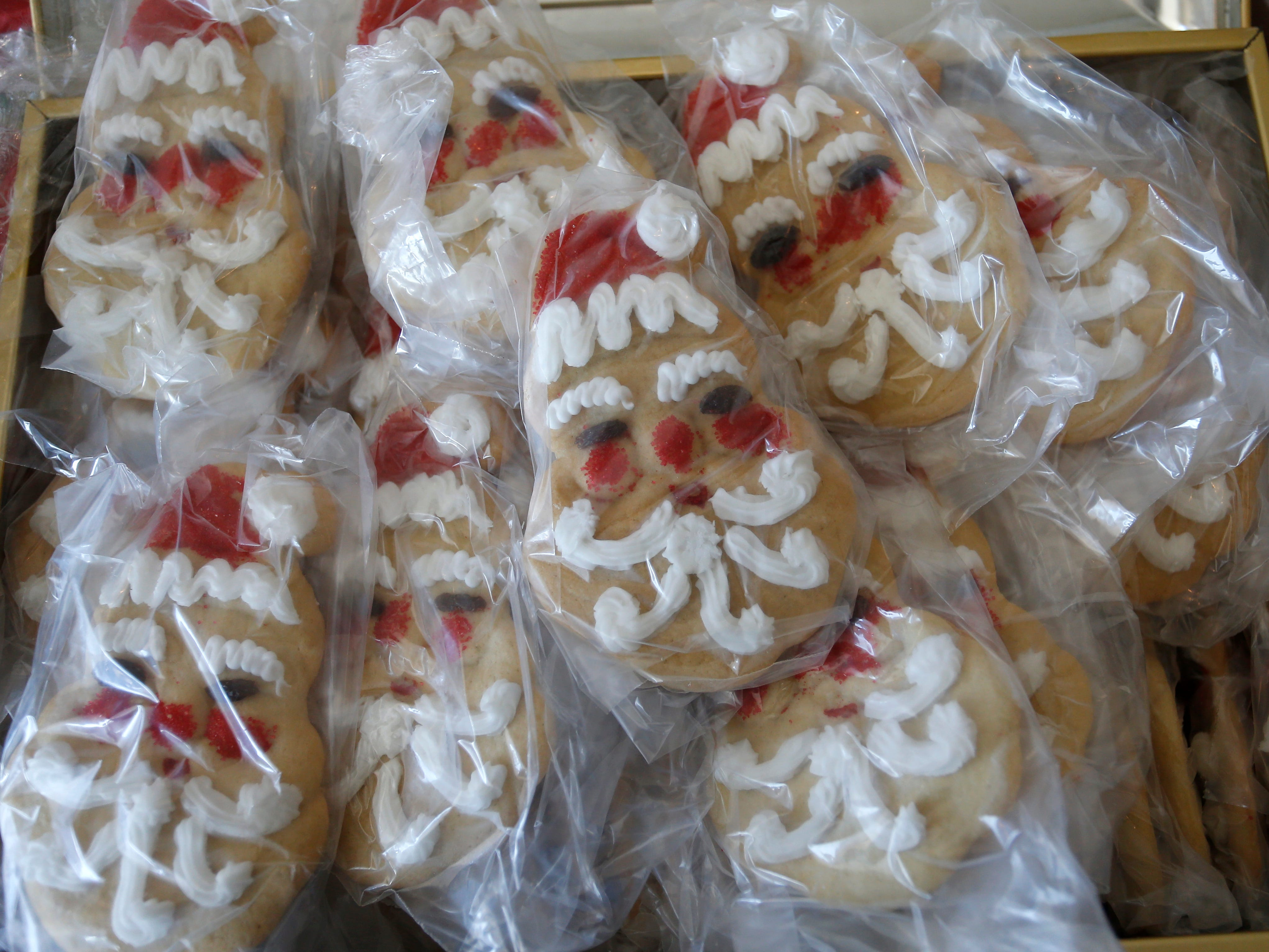 Santa head cookies at the Wotherspoon Christmas cookie extravaganza on Saturday, Dec. 15, 2018.