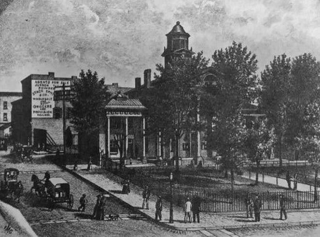 Staunton courthouse, around 1870. The jail was across the road.