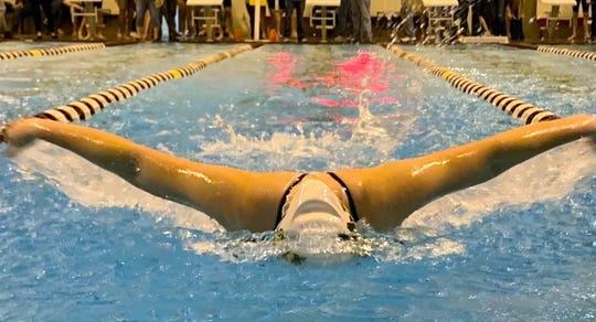 Wilson Memorial's Hannah Shifflett competes in the 100-meter butterfly during a tri-meet with Spotswood and Turner Ashby on Wednesday, Dec. 12, 2018, at Bridgewater College in Bridgewater, Va.
