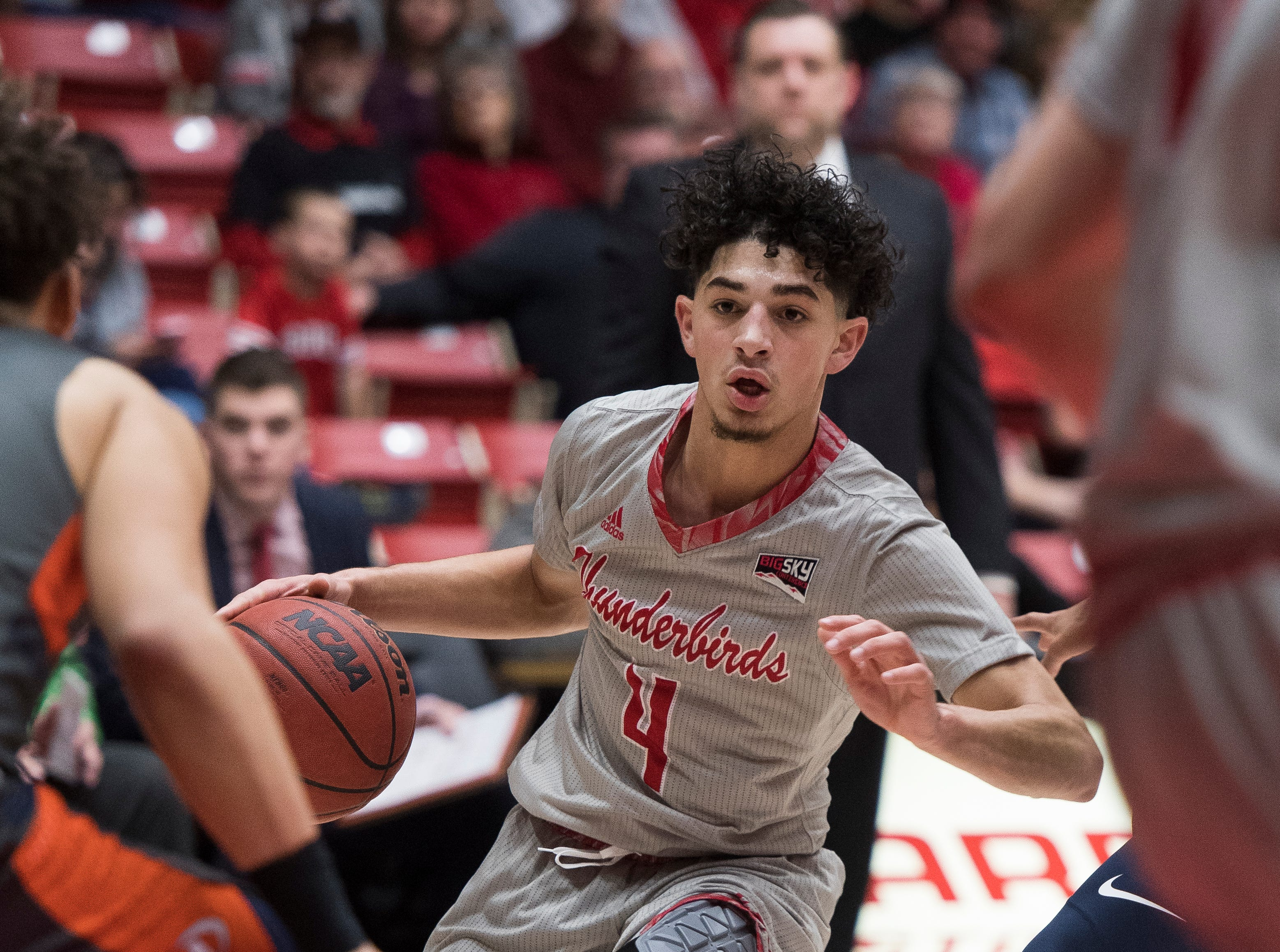 Southern Utah University sophomore Dre Marin (4) looks for a gap in the Pepperdine University defense during the game in the America First Event Center Saturday, December 15, 2018. SUU won in overtime, 78-69.