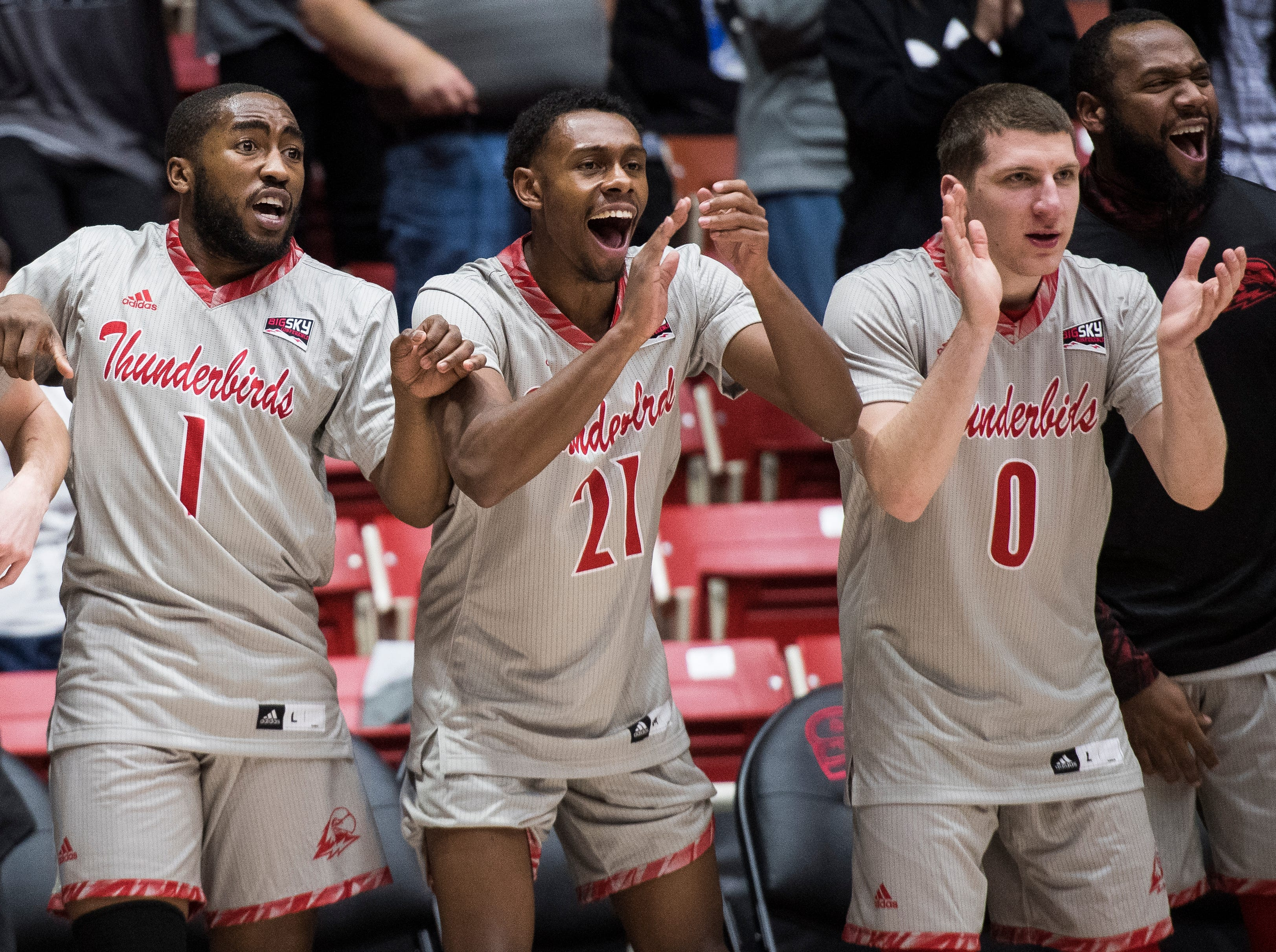 The Southern Utah University bench reacts to retaking the lead in overtime during the game against Pepperdine University in the America First Event Center Saturday, December 15, 2018. SUU won in overtime, 78-69.
