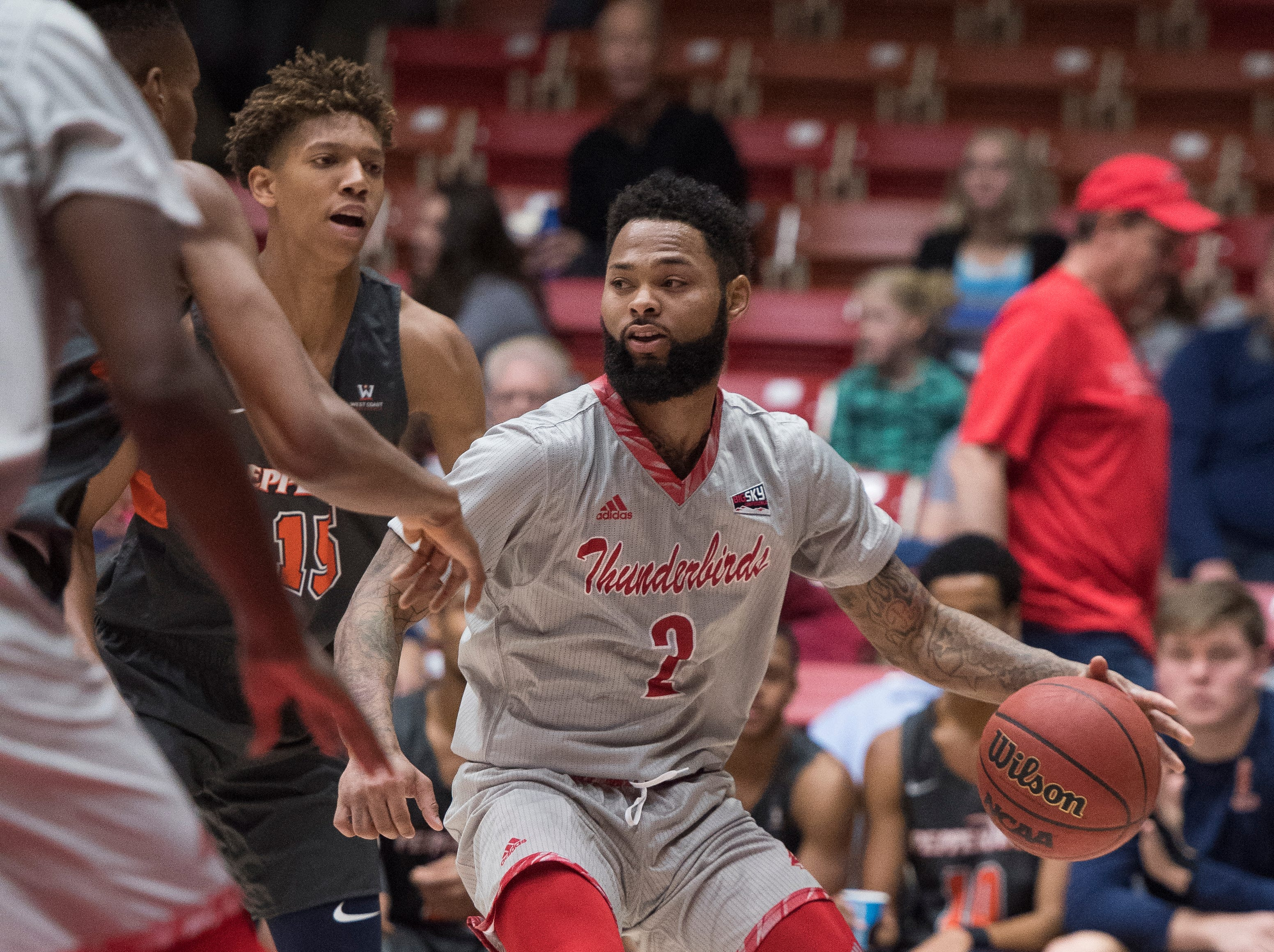 Southern Utah University senior Brandon Better (2) looks for an open pass against Pepperdine University in the America First Event Center Saturday, December 15, 2018. SUU won in overtime, 78-69.