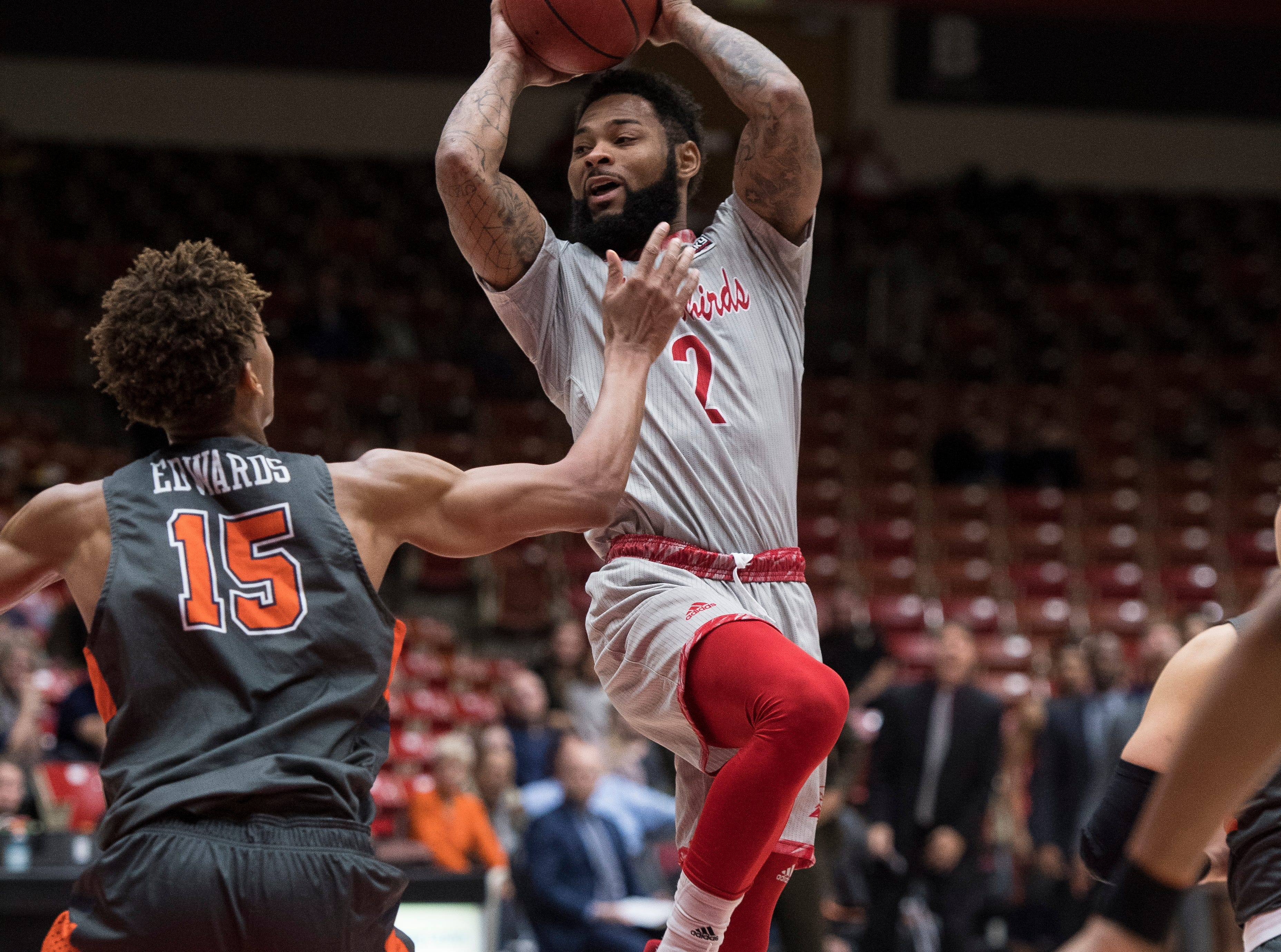 Southern Utah University senior Brandon Better (2) shoots the ball against Pepperdine University in the America First Event Center Saturday, December 15, 2018. SUU won in overtime, 78-69.