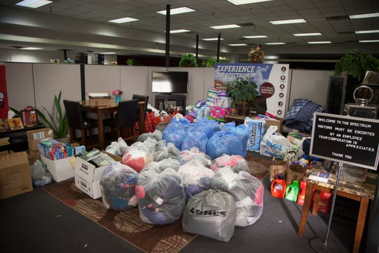 Donations from the two-week Step Up drive are packaged and ready to be taken to the Washington County School District on Monday, Dec. 10, 2018.