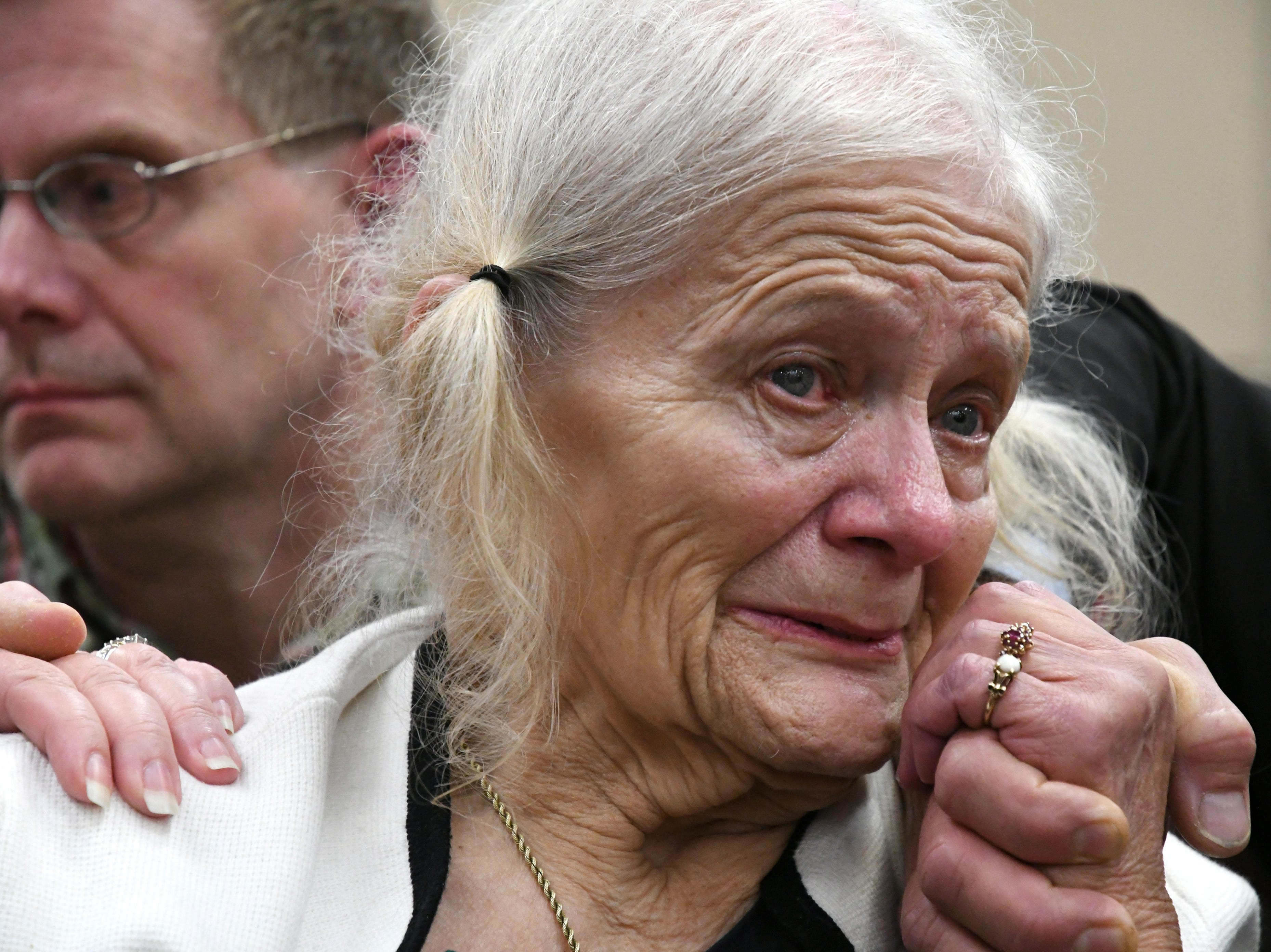 Cheryl Williams, mother of Mike Williams, the man who was shot and killed by his best friend 18 years ago, cries tears of joy for a the guilty verdicts in the trial against Denise Williams, Mike's former wife, Friday, Dec. 14, 2018.