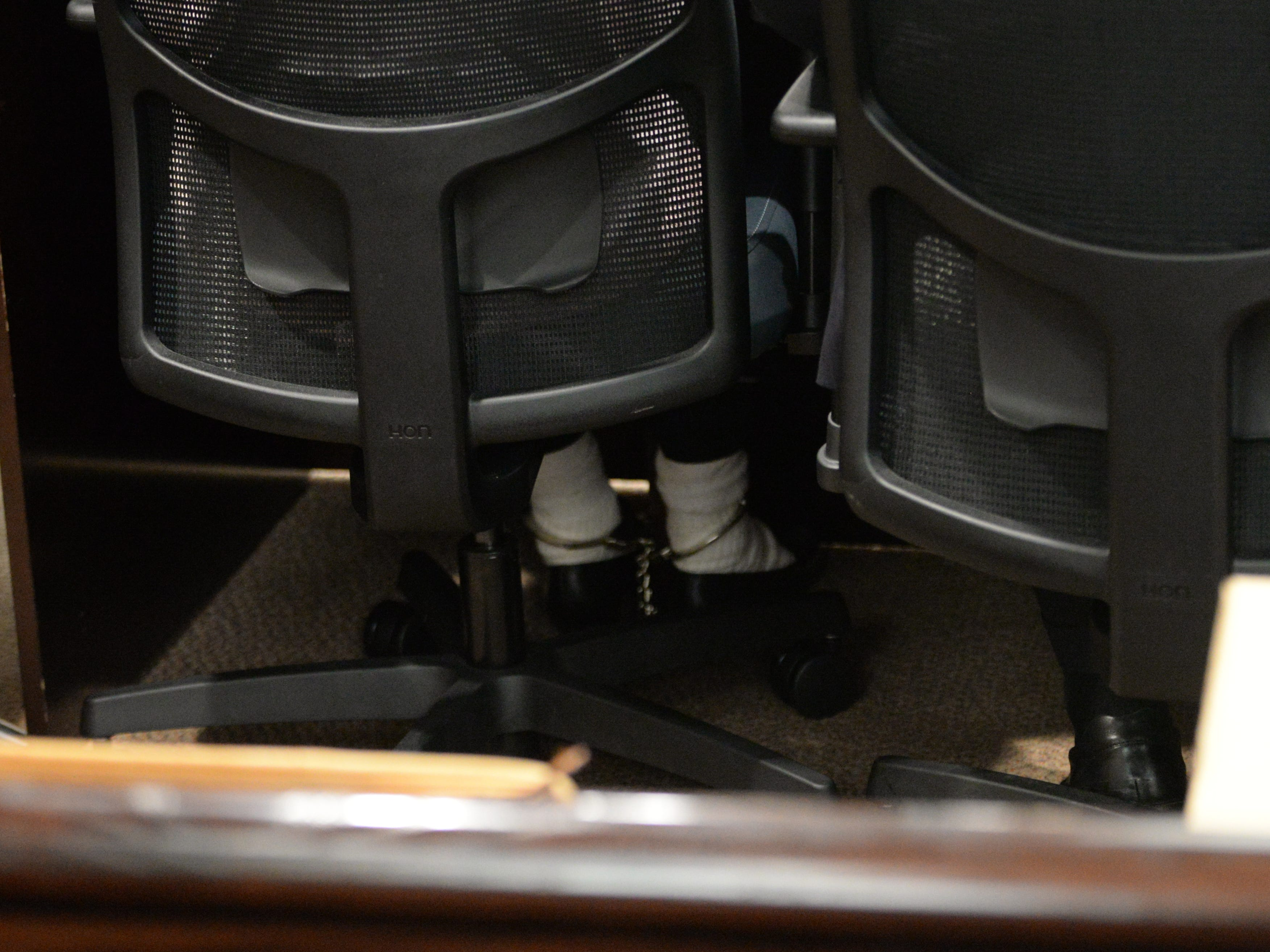 Denise Williams ankles are shackled as she is brought in for the reading of the verdict as the verdict in her trial for the murder of her husband Mike Williams at the Leon County Courthouse Friday, Dec. 14, 2018.