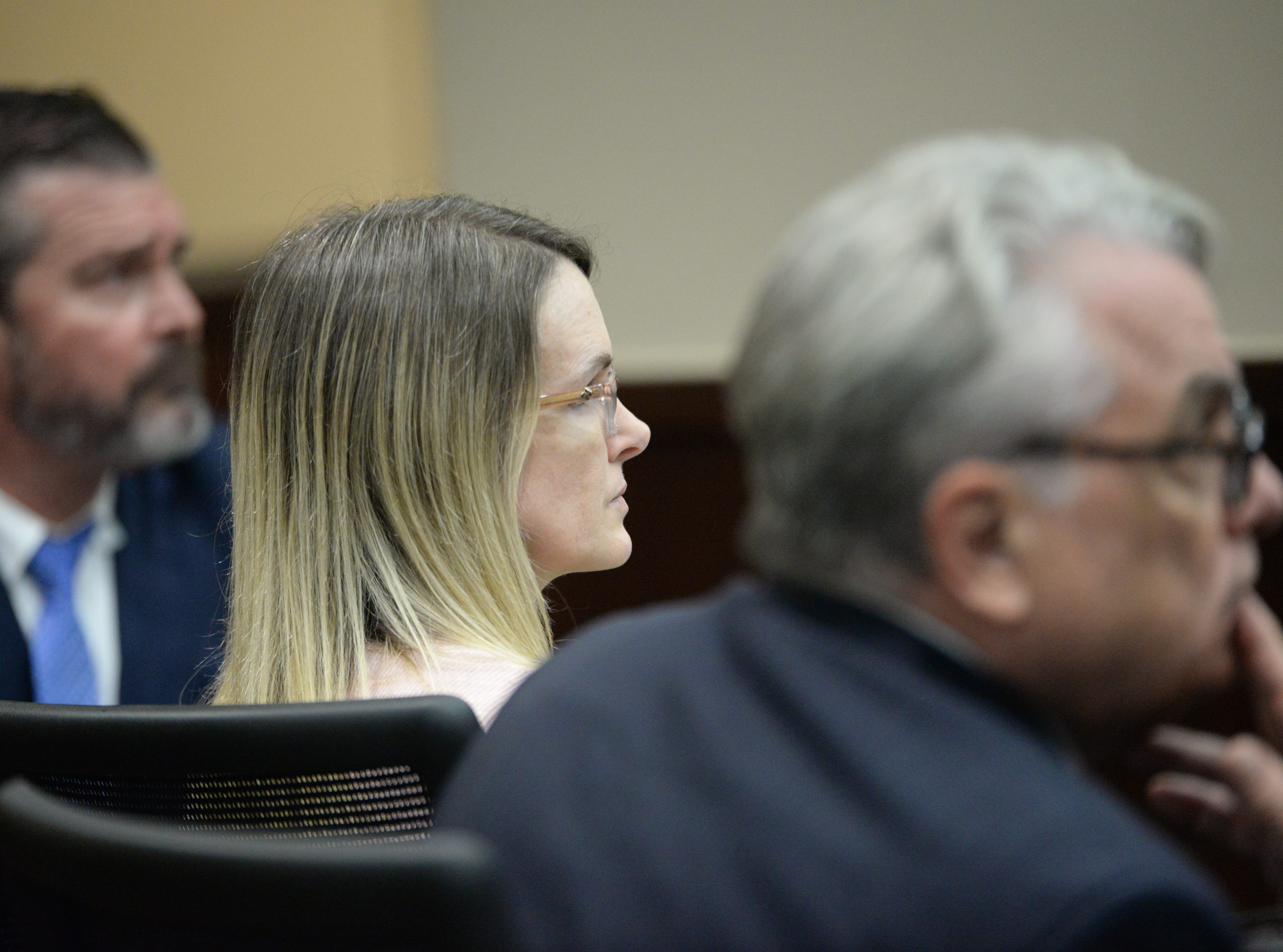Denise Williams remains stoic as she has through the trial as she hears the verdict, convicting her of the murder of her husband Mike Williams at the Leon County Courthouse Friday, Dec. 14, 2018.