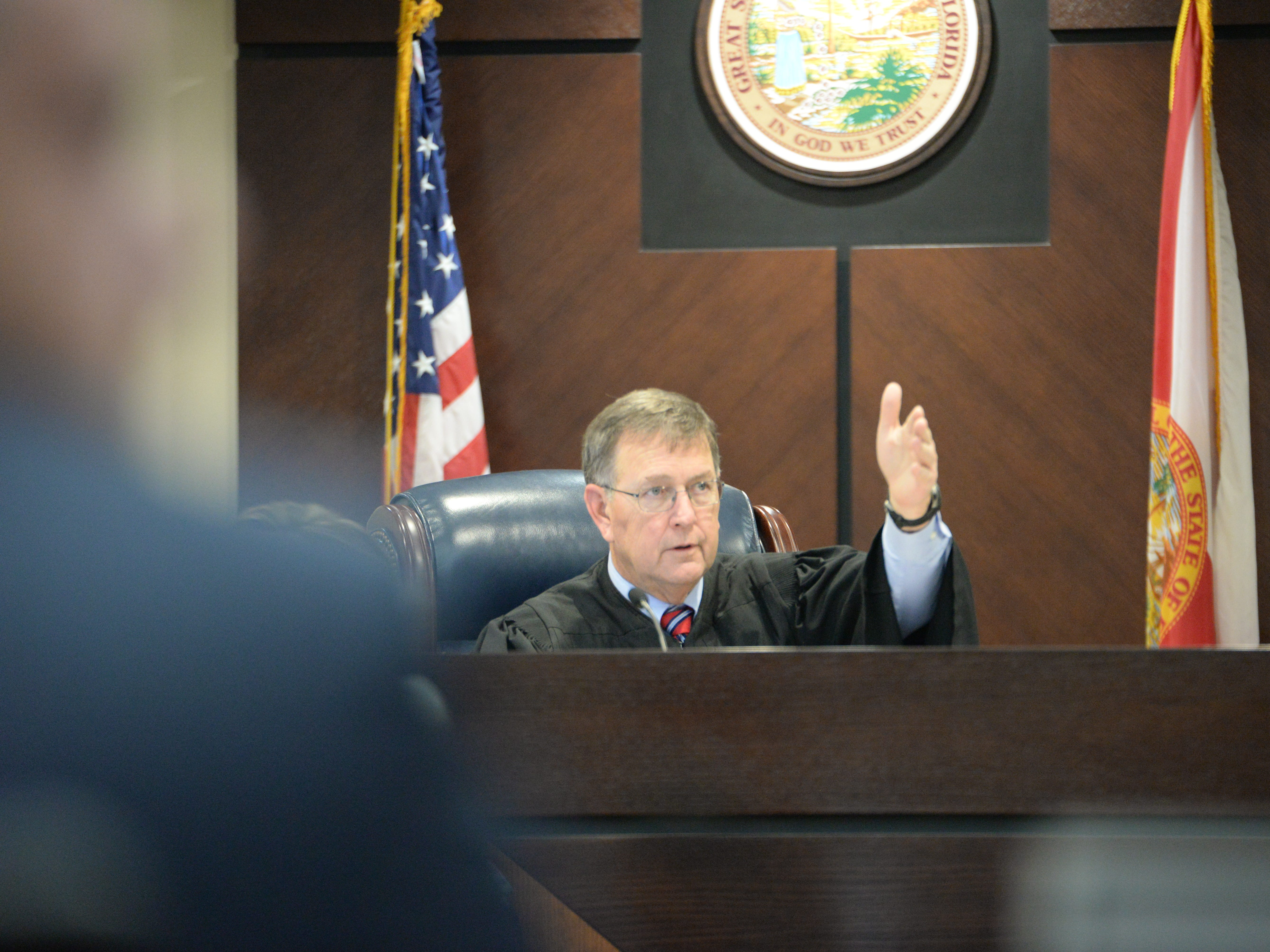 Judge James Hankinson reads the verdict, convicting Denise Williams for the murder of her husband Mike Williams at the Leon County Courthouse Friday, Dec. 14, 2018.