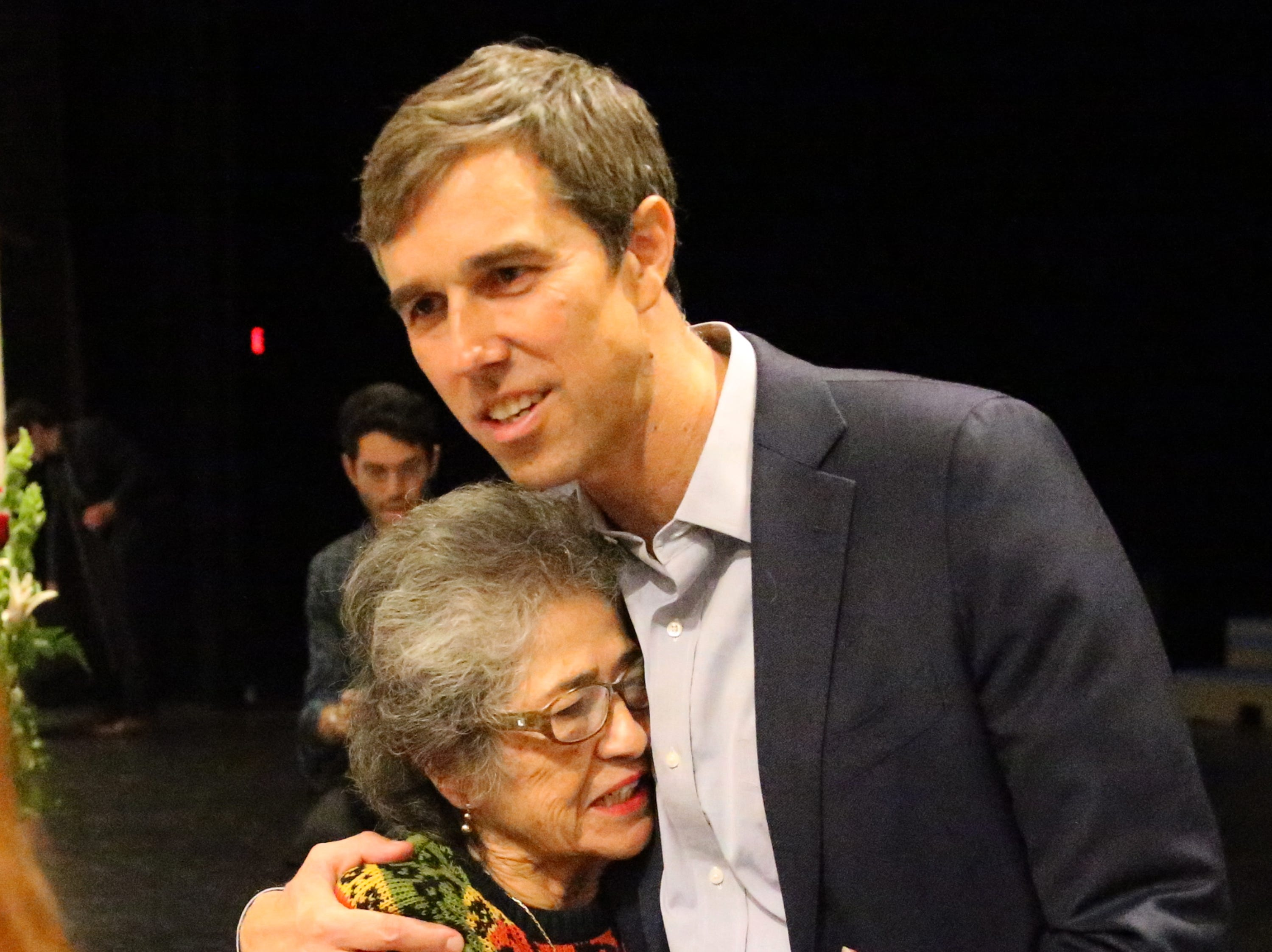 Norma Kidder of El Paso gets a hug from U.S. Rep. Beto O'Rourke at the end of his town hall on veterans issues Friday at Chapin High School.