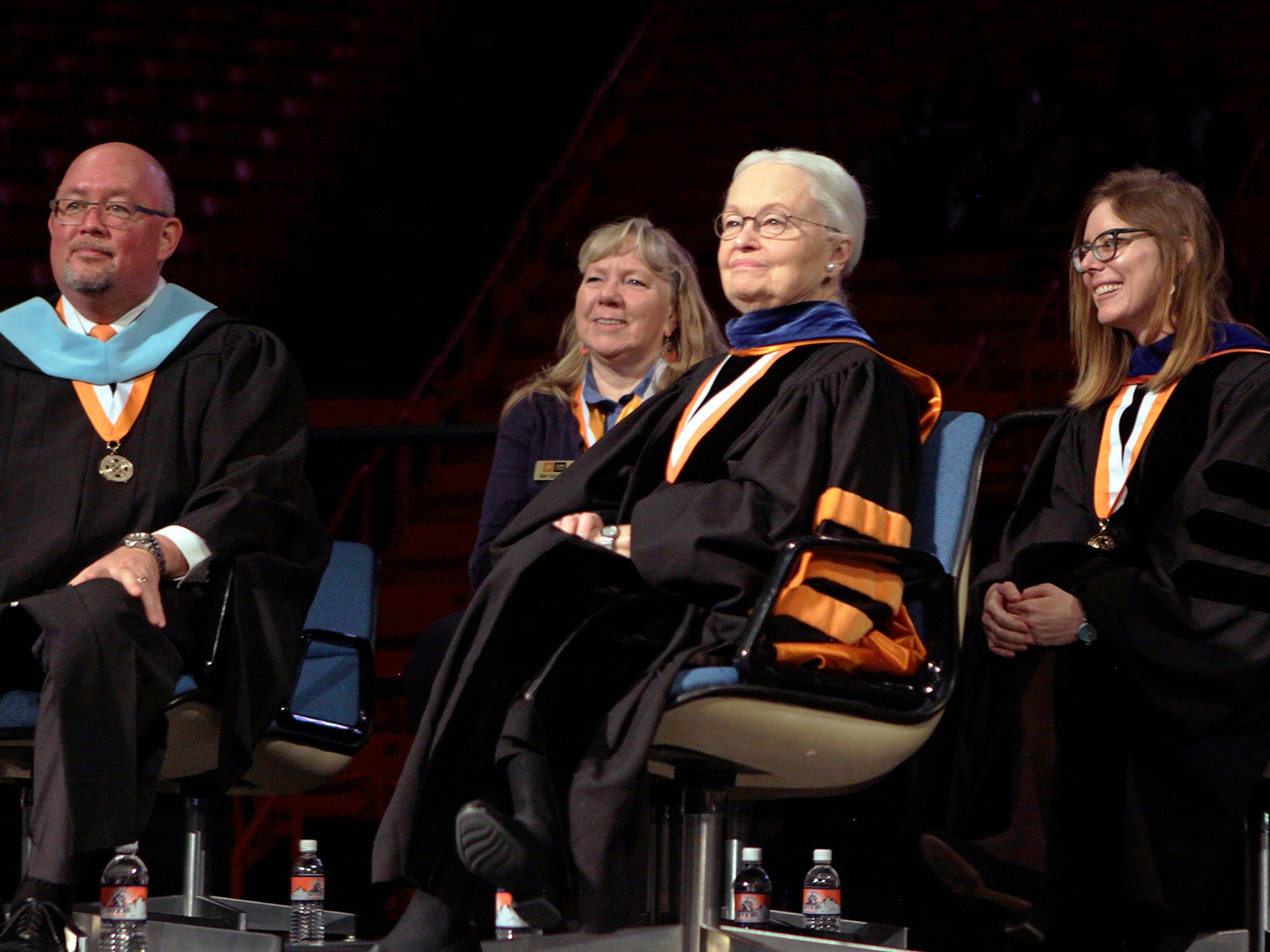UTEP President Diana Natalciio at the school's winter commencement ceremonies in December.