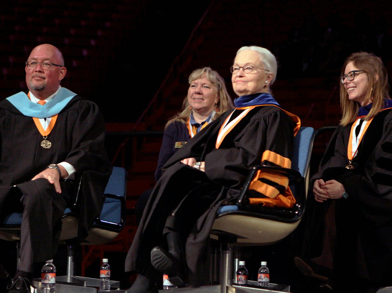 UTEP President Diana Natalicio smiles as more than 2,500 students received their degrees from the University of Texas at El Paso at Saturday's winter commencement ceremonies.