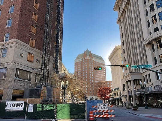 The Hotel Paso Del Norte is in far background. The Plaza Hotel building, left, also is under renovation in Downtown El Paso.