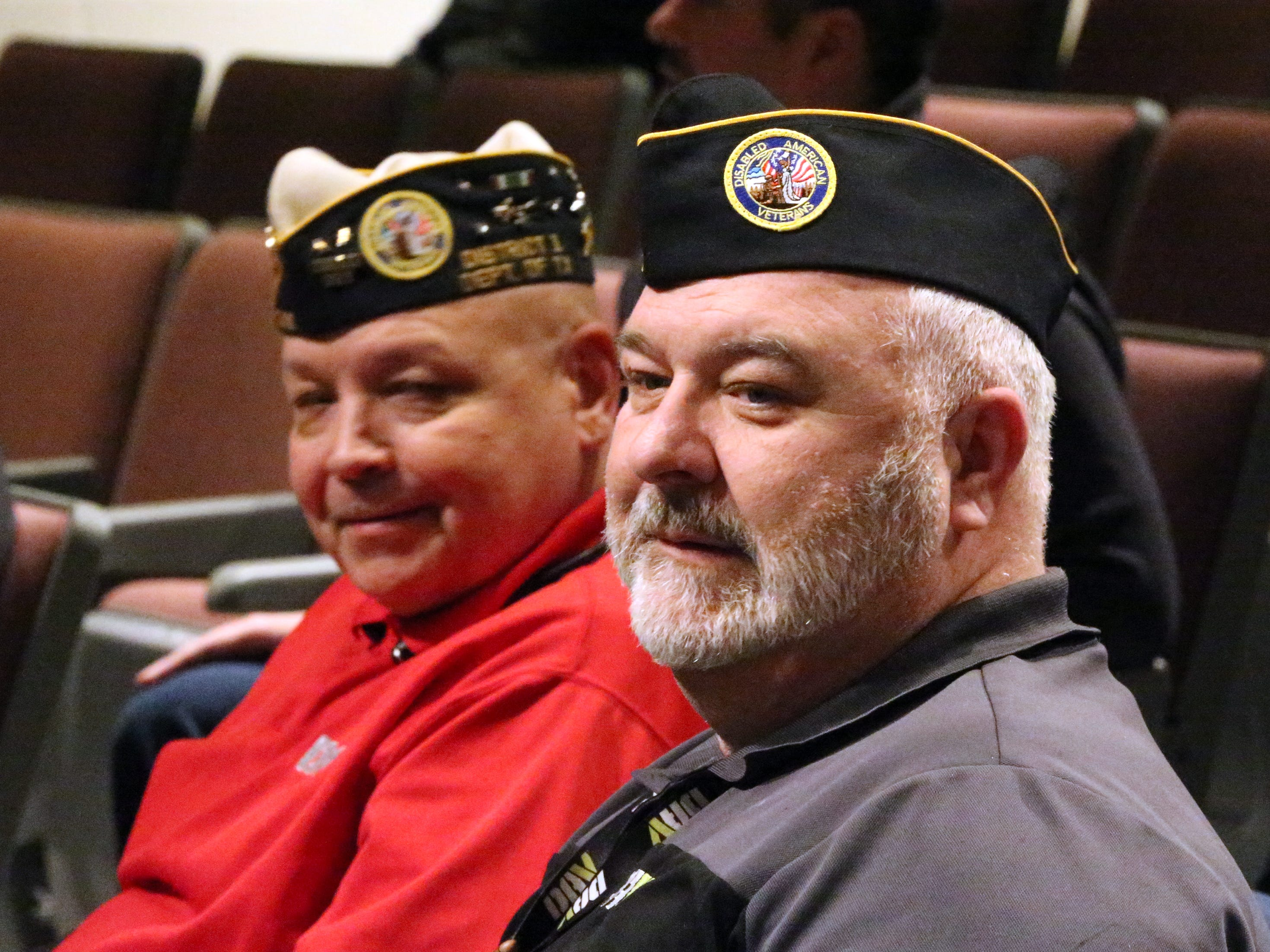 Military veterans David Garcia, left, and Marcus Duval attended Beto O'Rourke's final town hall on veterans issues Friday at Chapin High School.