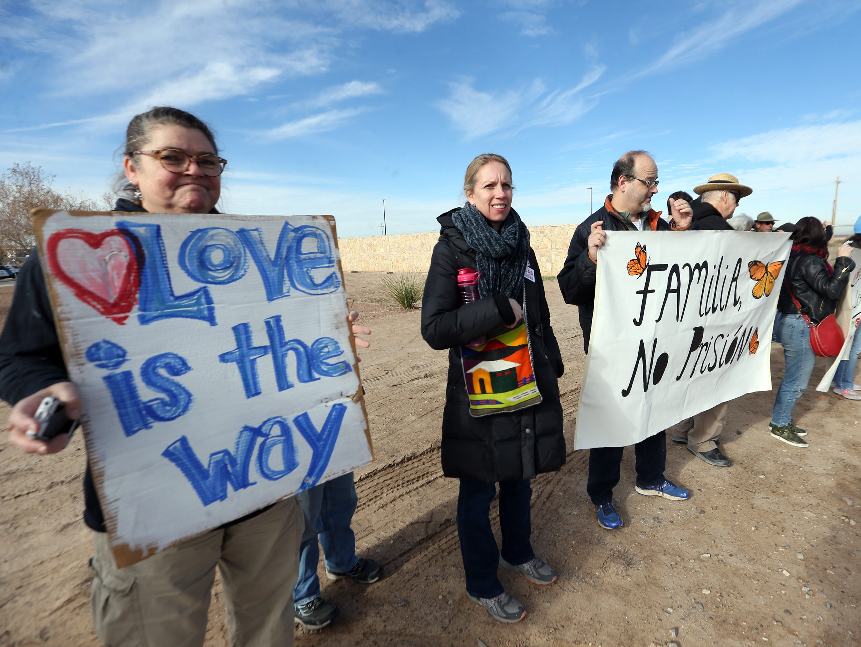 About 75 people, some holding signs, held a protest outside the gates to the Tornillo international port of entry Saturday.