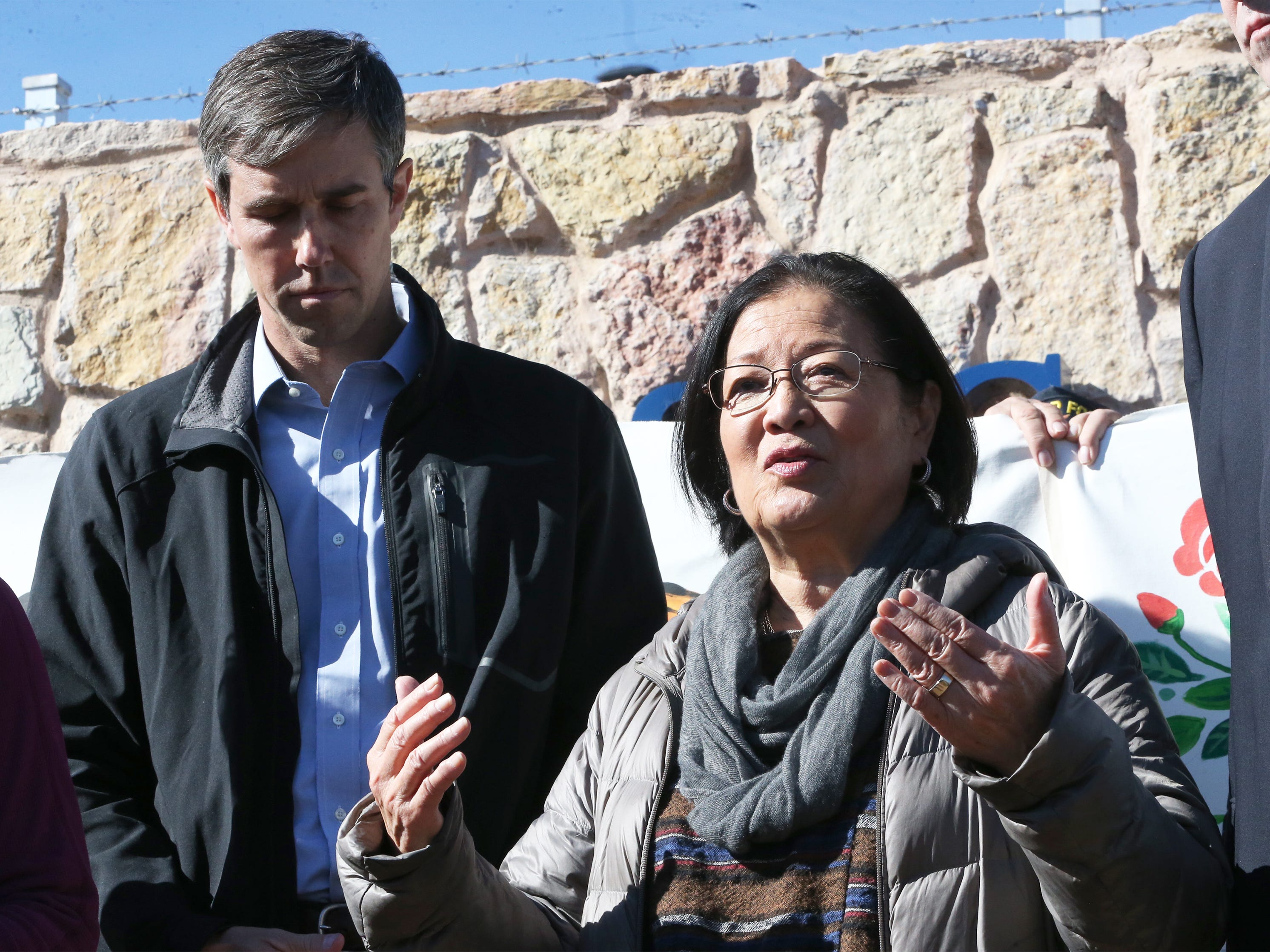 U.S. Sen. Mazie Hirono, right, D-HI speaks outside the Tornillo international port of entry with U.S. Rep. Beto O'Rourke Saturday.