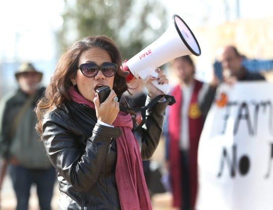 U.S. Rep. elect Veronica Escobar tells protesters outside the Tornillo port of entry the message too often spread about the border is contrary to the truth. 'El Paso is a community that welcomes people with open arms,' she said.