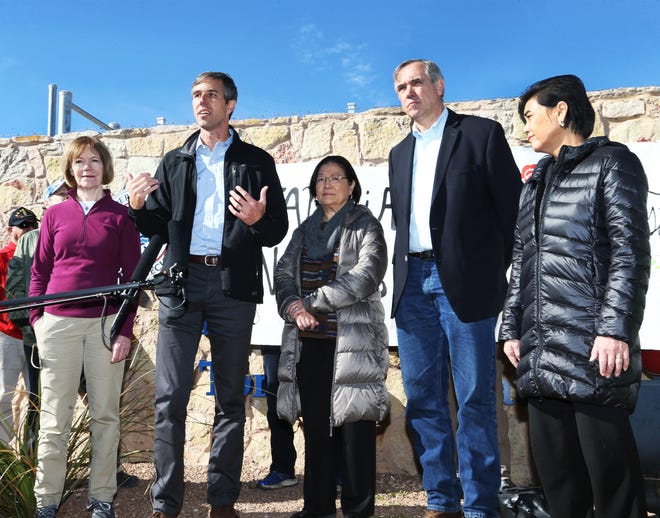 U.S. Rep. Beto O'Rourke, D-El Paso, second from left, speaks with a congressional delegation after touring the Tornillo international port of entry where more than 2,000 undocumented children are being housed Saturday East of El Paso. With him are from left, U.S. Sen. Tina Smith, D-MN, U.S. Sen. Mazie Hirono, D-HI, U.S. Sen. Jeff Merkley, D-Oregon and U.S. Rep. Judy Chu, D-CA.
