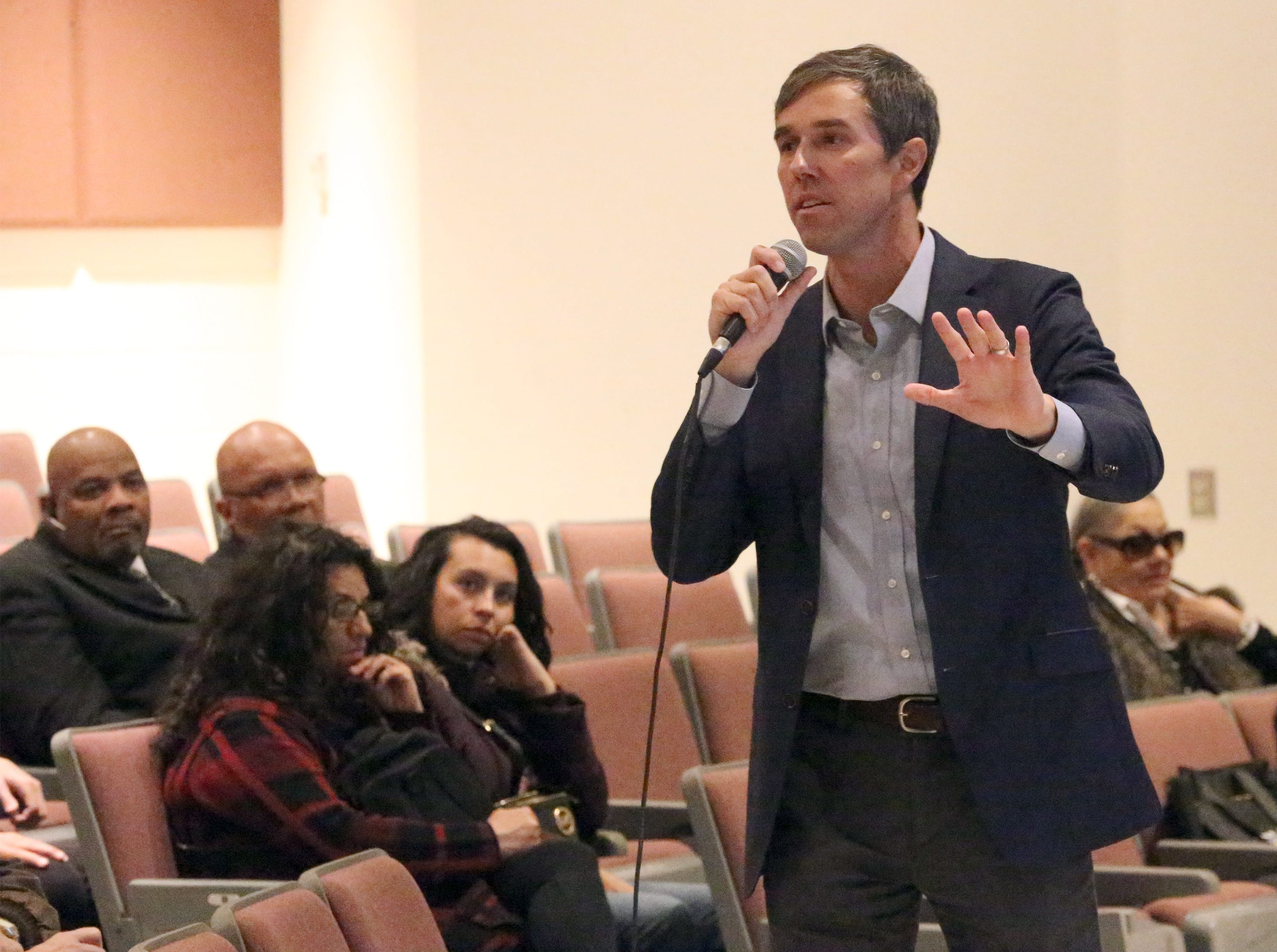 Beto O'Rourke hosted his final town halls at Chapin High School and visited a migrant shelter in Juarez Friday