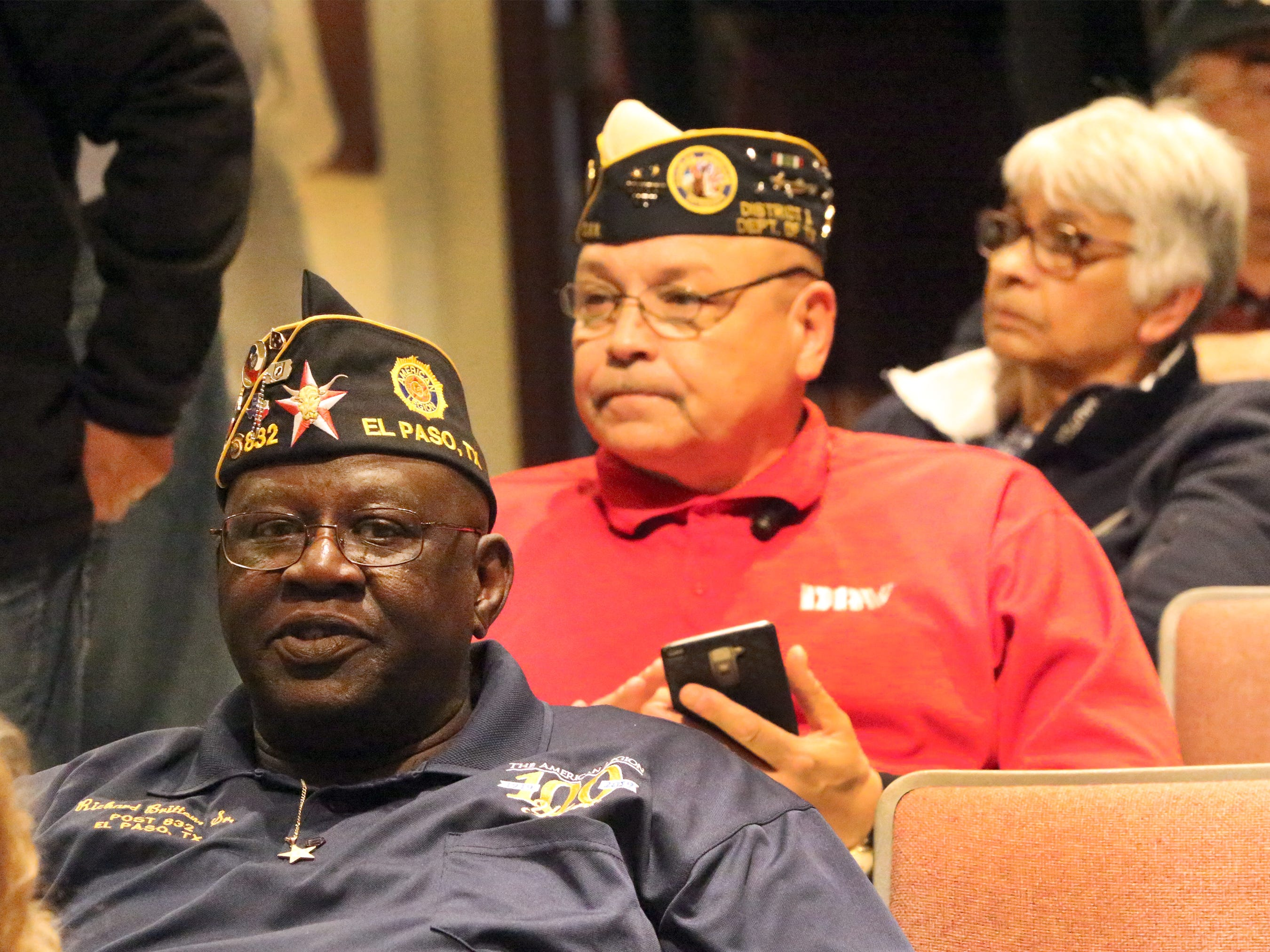 Military veterans Richard Britton, left, and David Garcia attended Beto O'Rourke's final town hall on veterans issues Friday at Chapin High School.