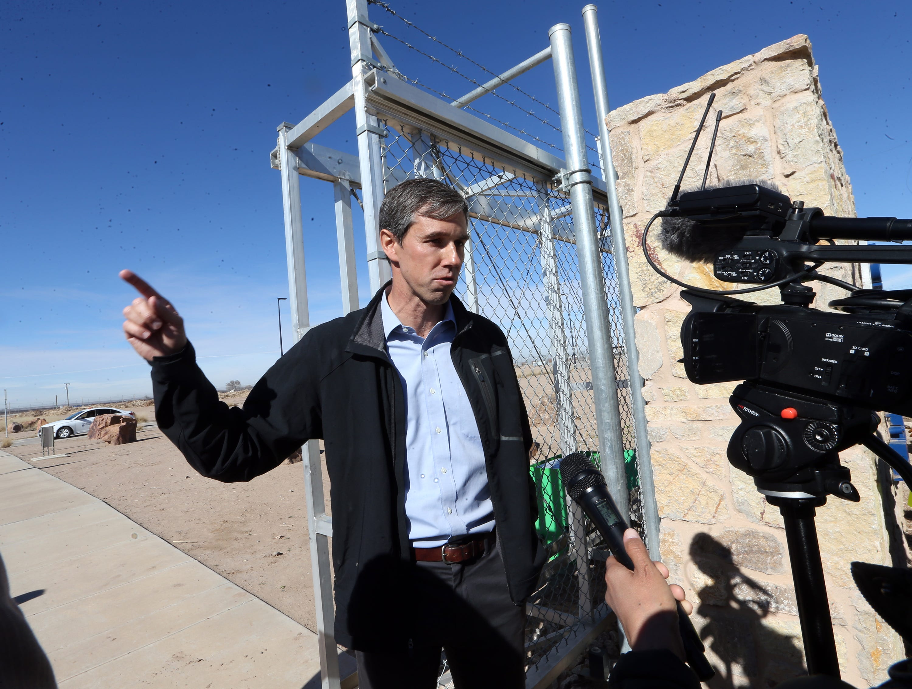 U.S. Rep. Beto O'Rourke talks to the media outside the gates to the Tornillo international port of entry Saturday.