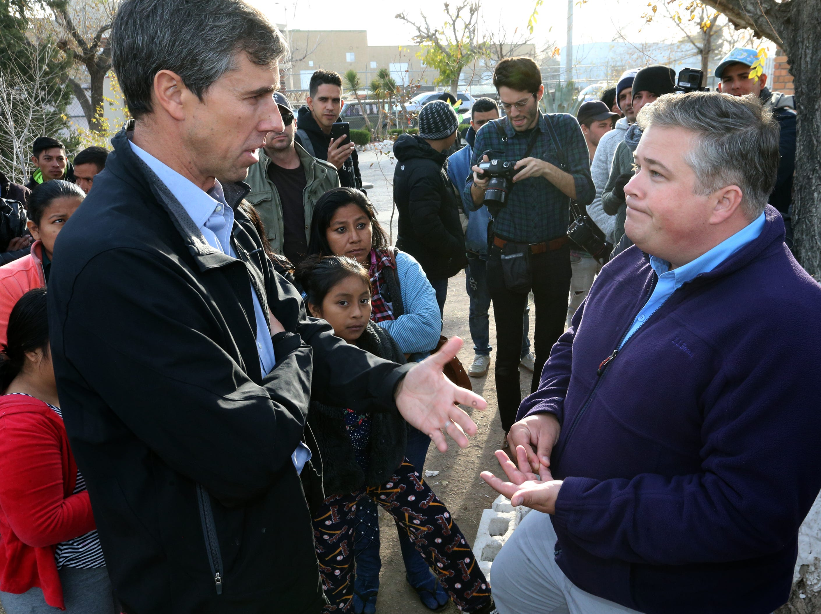 U.S Rep. Beto O'Rourke speaks with Dylan Corbett of Hope Border Institute during a visit to Casa del Imigrante shelter in Juarez Friday.