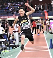 Nanuet's Jeremy Kang triple jumps 37-10.25 during the 2018 Armory Coaches Hall of Fame Invitational at the Armory in New York City.