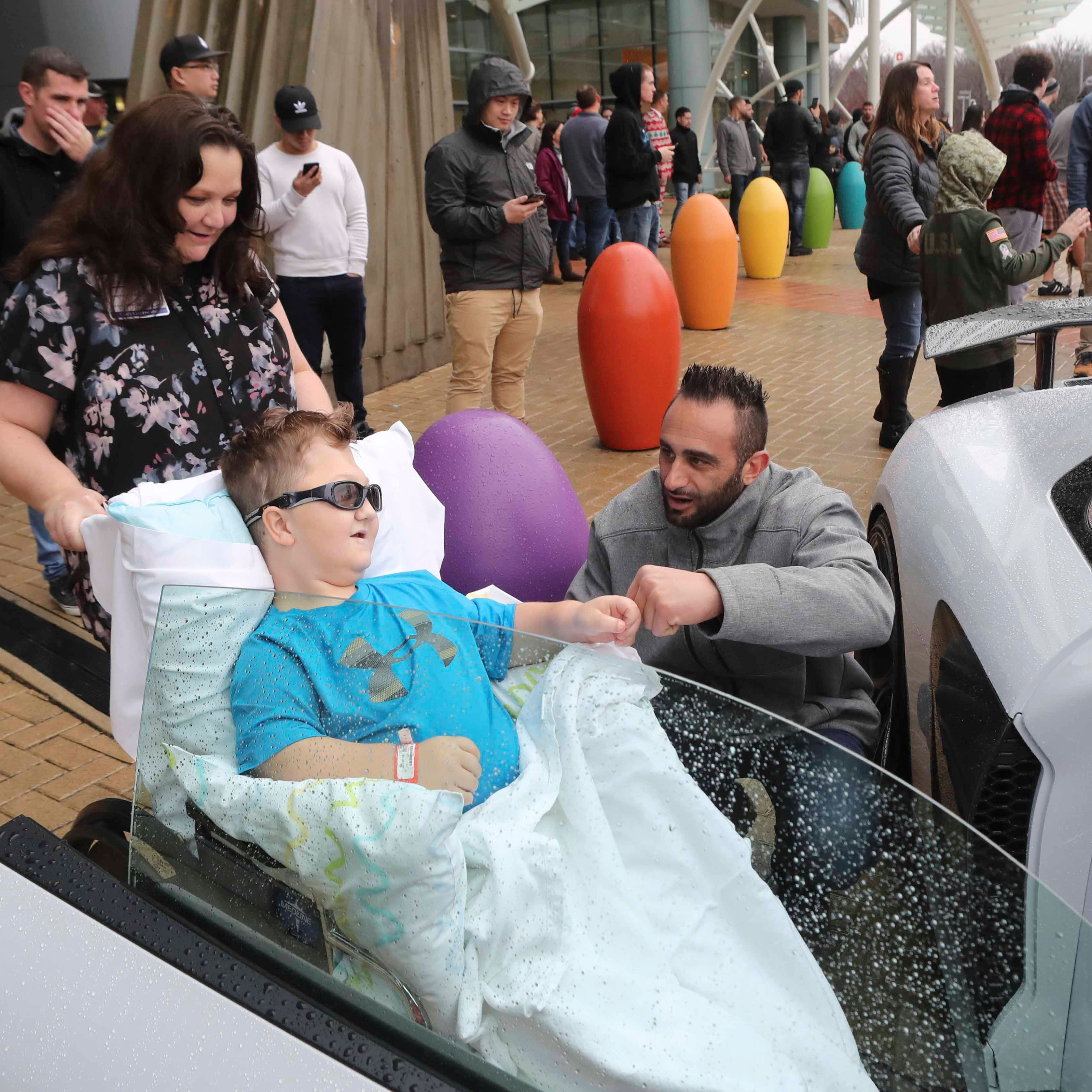 Car clubs drive to Nemours/A.I. duPont Hospital for Children for a Christmastime treat