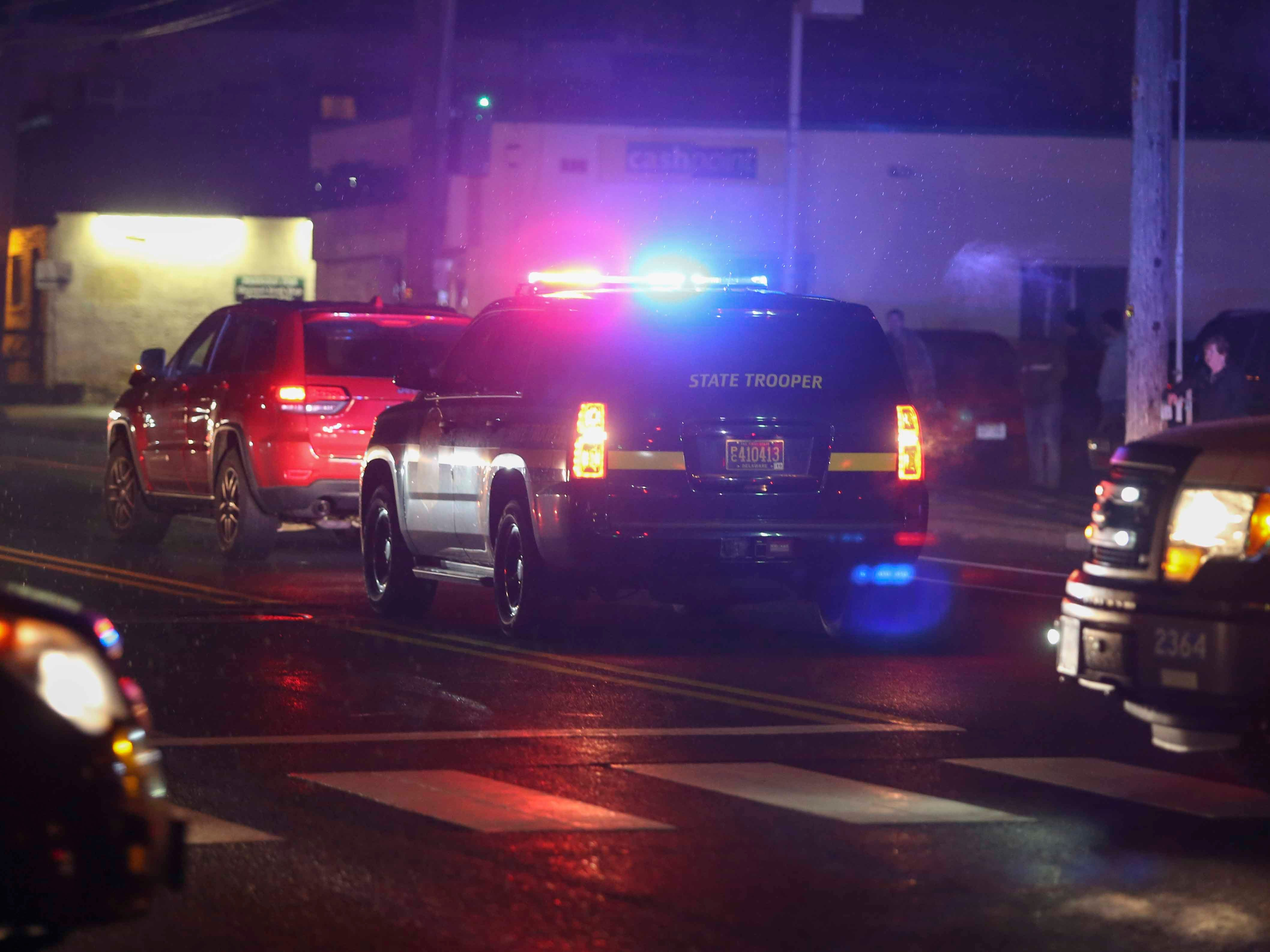 Delaware State Police investigate after a pedestrian was struck by a SUV on Philadelphia Pike at Seminole Avenue in Claymont about 5 p.m. Friday.