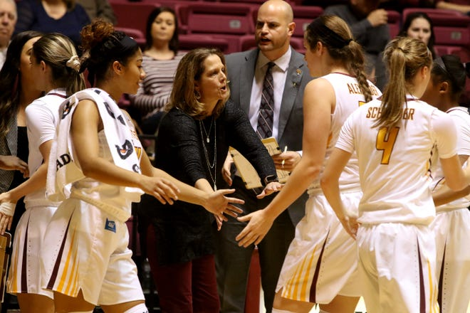 Midwestern State head basketball coach Noel Johnson encourages her players as they come in for a timeout in the game against St. Mary's Saturday, Dec. 15, 2018, in D.L. Ligon Coliseum at MSU. The Mustangs defeated the Rattlers 51-35 bringing their record to 2-5.