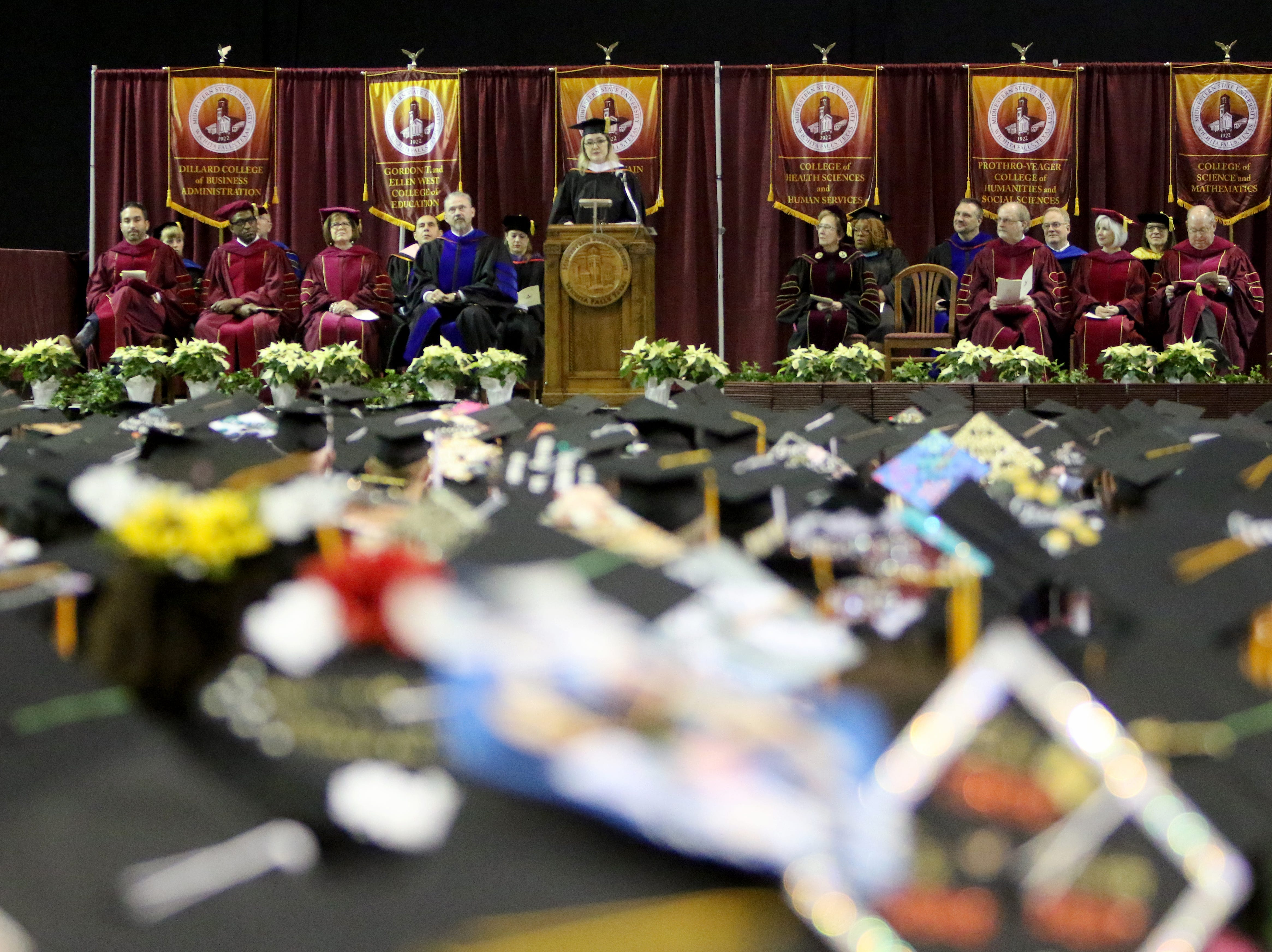 Midwestern State University alumna Valarie McCubbins gives the commencement address at the fall commencement ceremony Saturday, Dec. 15, 2018, in Kay Yeager Coliseum at the MPEC.