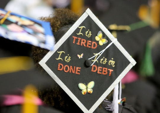 Midwestern State University graduates decorated caps were on display at fall commencement ceremony Saturday, Dec. 15, 2018, in Kay Yeager Coliseum at the MPEC.
