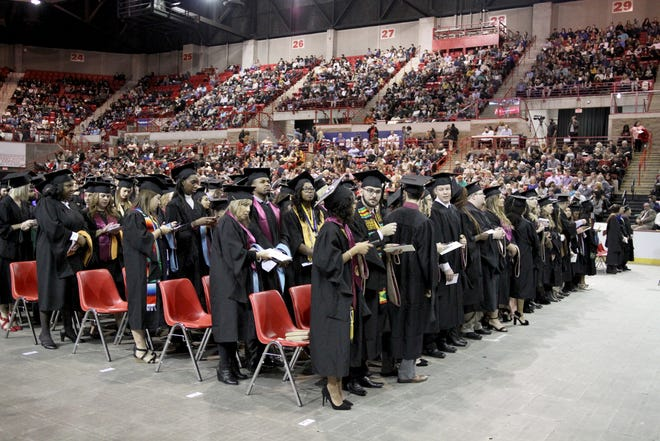 In this December 2018 file photo, candidates for Midwestern State University fall graduation participate in the ceremony inside Kay Yeager Coliseum. The Texas Military Department announced the 176th Engineer Brigade was assessing the facility for possible medical use during the pandemic.