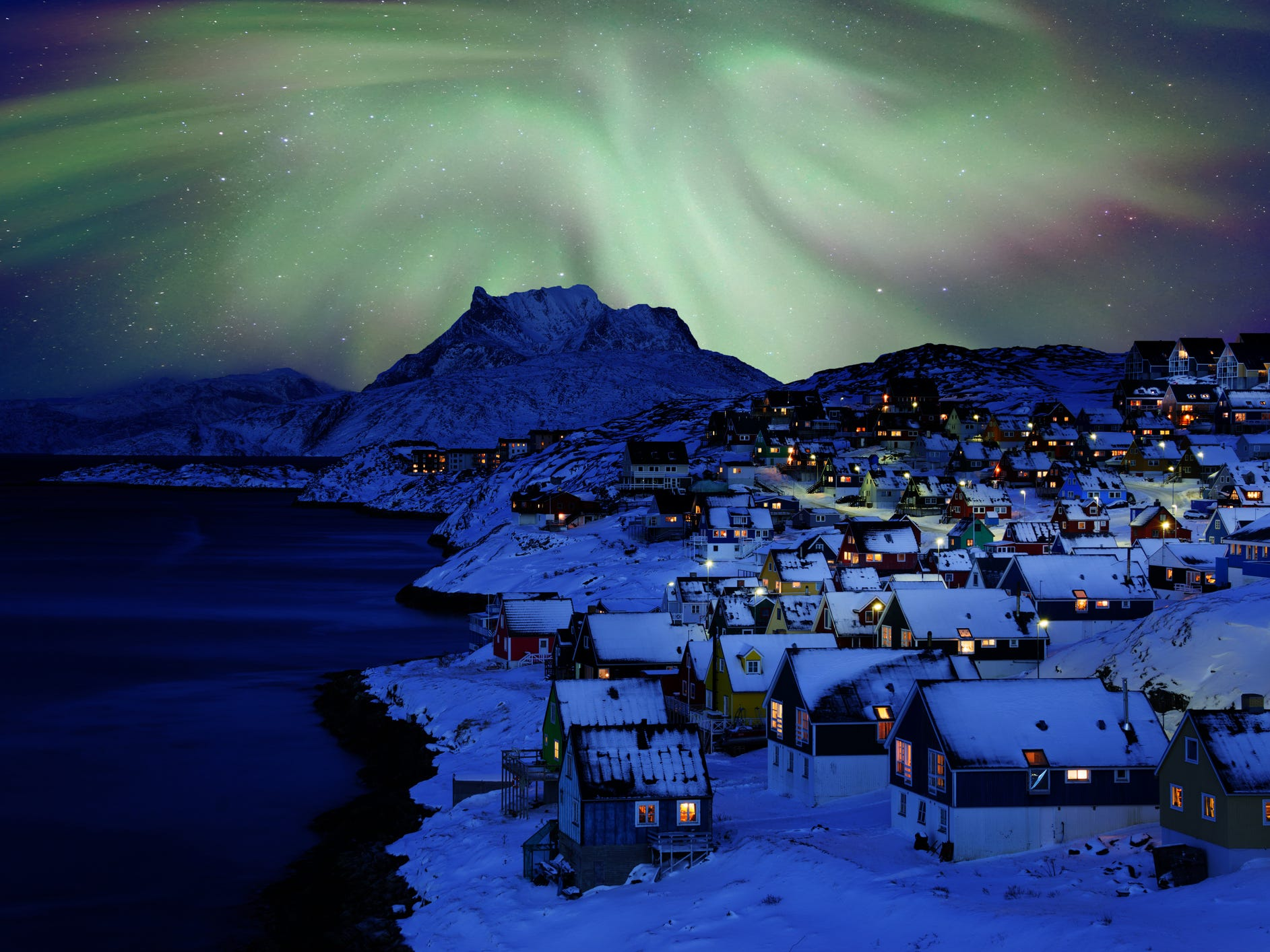 The northern lights in Greenland.