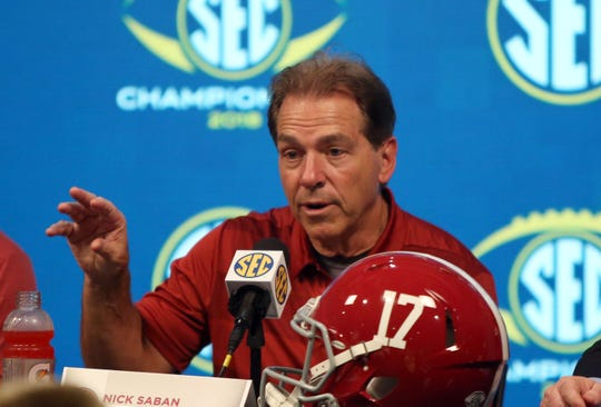 Alabama Crimson Tide head coach Nick Saban addresses the media following the win against the Georgia Bulldogs in the SEC championship game at Mercedes-Benz Stadium.