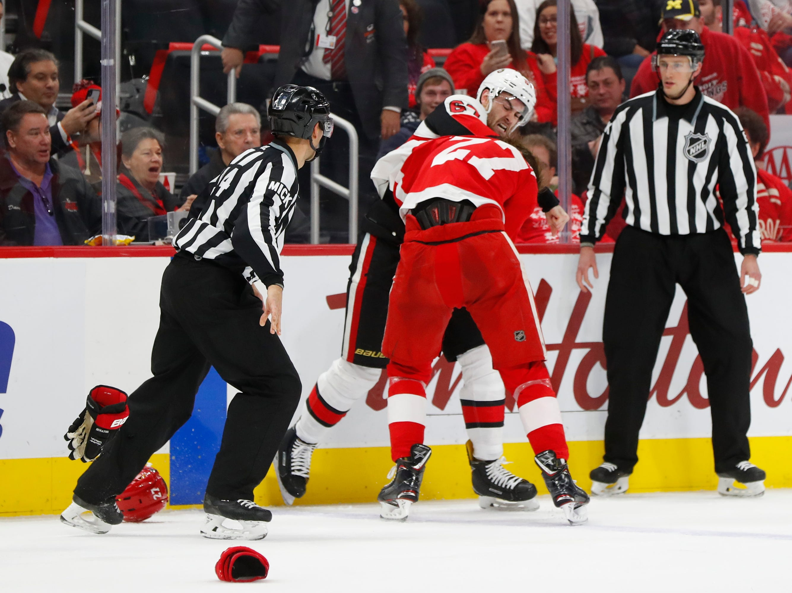 Dec. 14: Ottawa Senators' Ben Harpur vs. Detroit Red Wings' Michael Rasmussen.