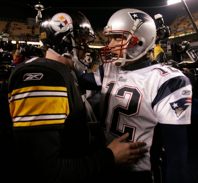 Steelers QB Ben Roethlisberger and Patriots QB Tom Brady face off on Sunday.