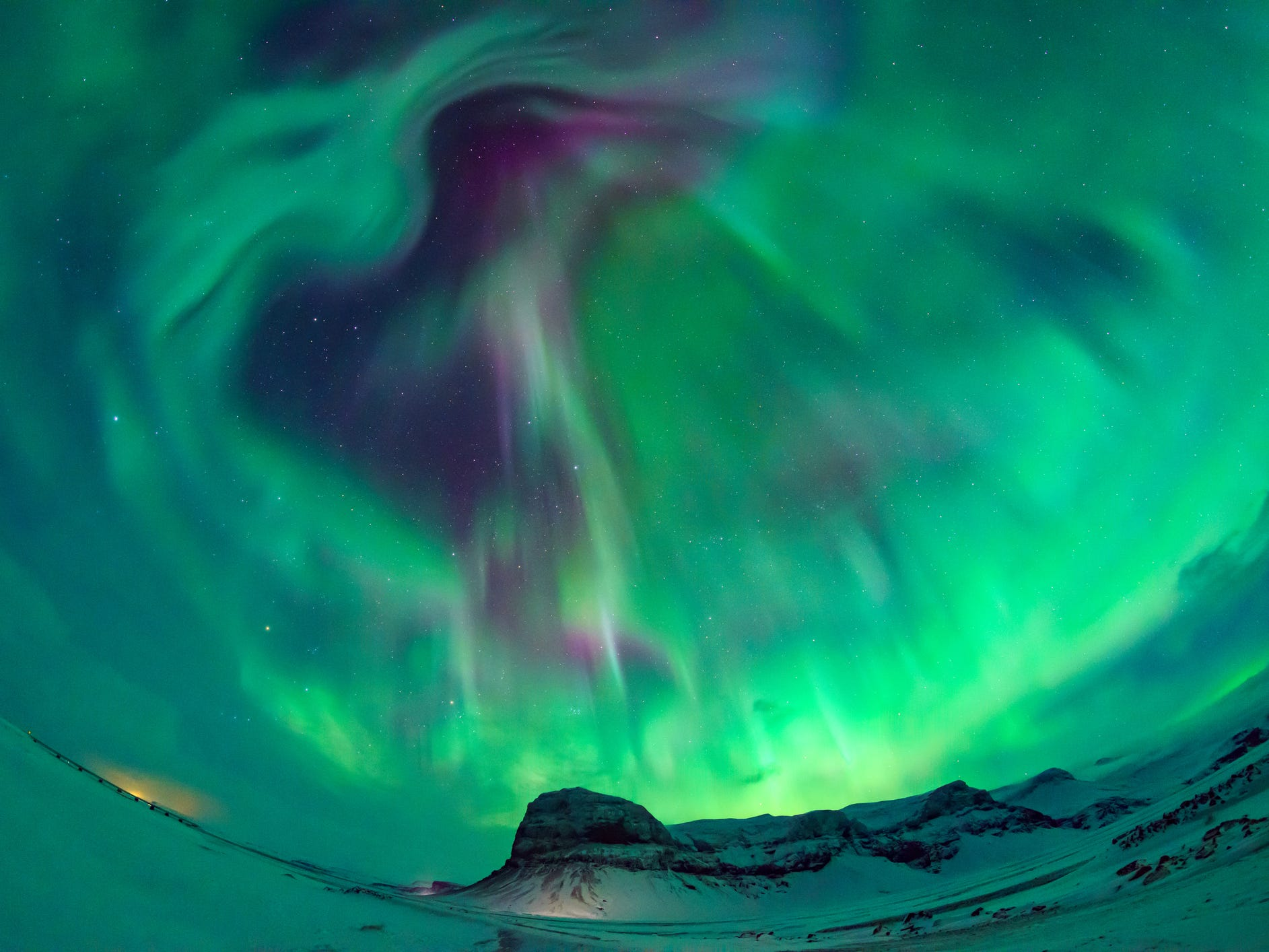 The northern lights in Iceland.