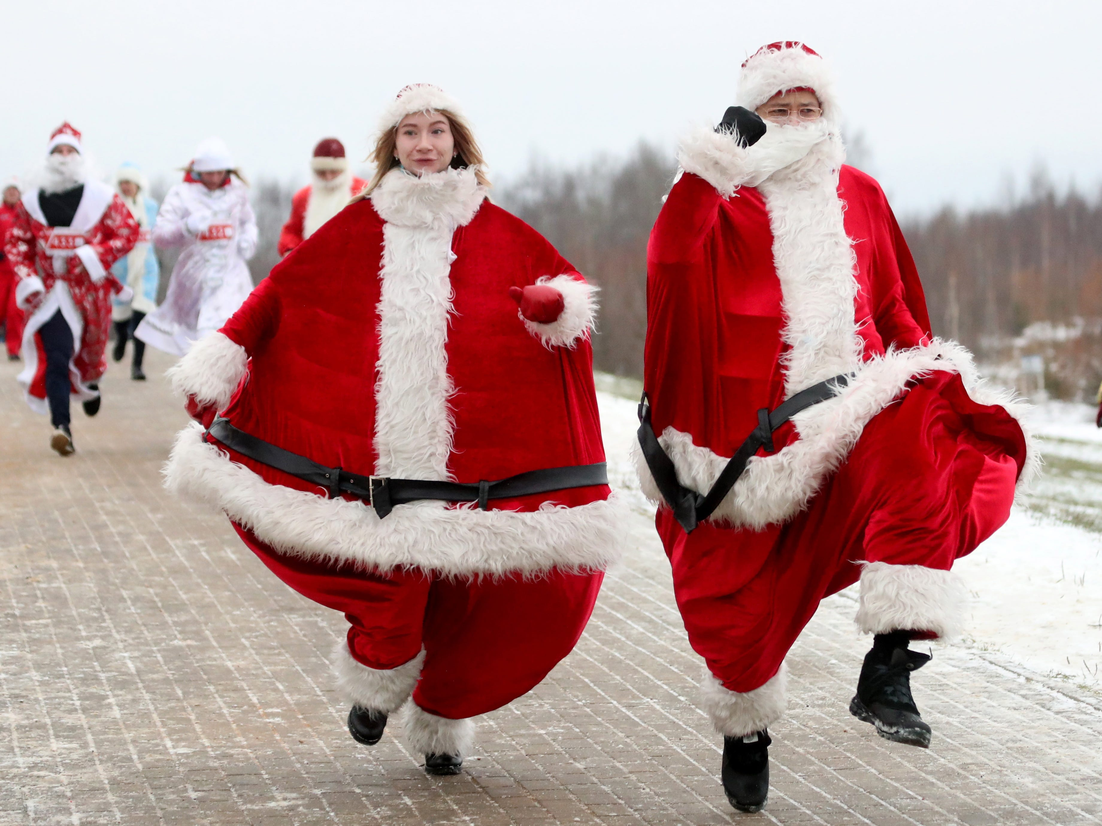 Participants dressed as Santa Clauses during the Santa Run in Minsk, Belarus on Dec. 15, 2018. More than 300 participants took part in the first Santa Run doing  distances of 5, 10 and 15 kilometers.