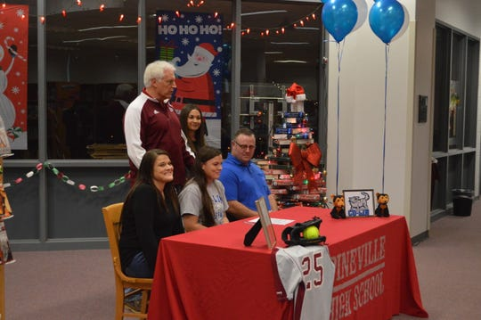 Pineville senior Alexis Garoutte (bottom row, center) signed with Copiah-Lincoln Community College Friday.