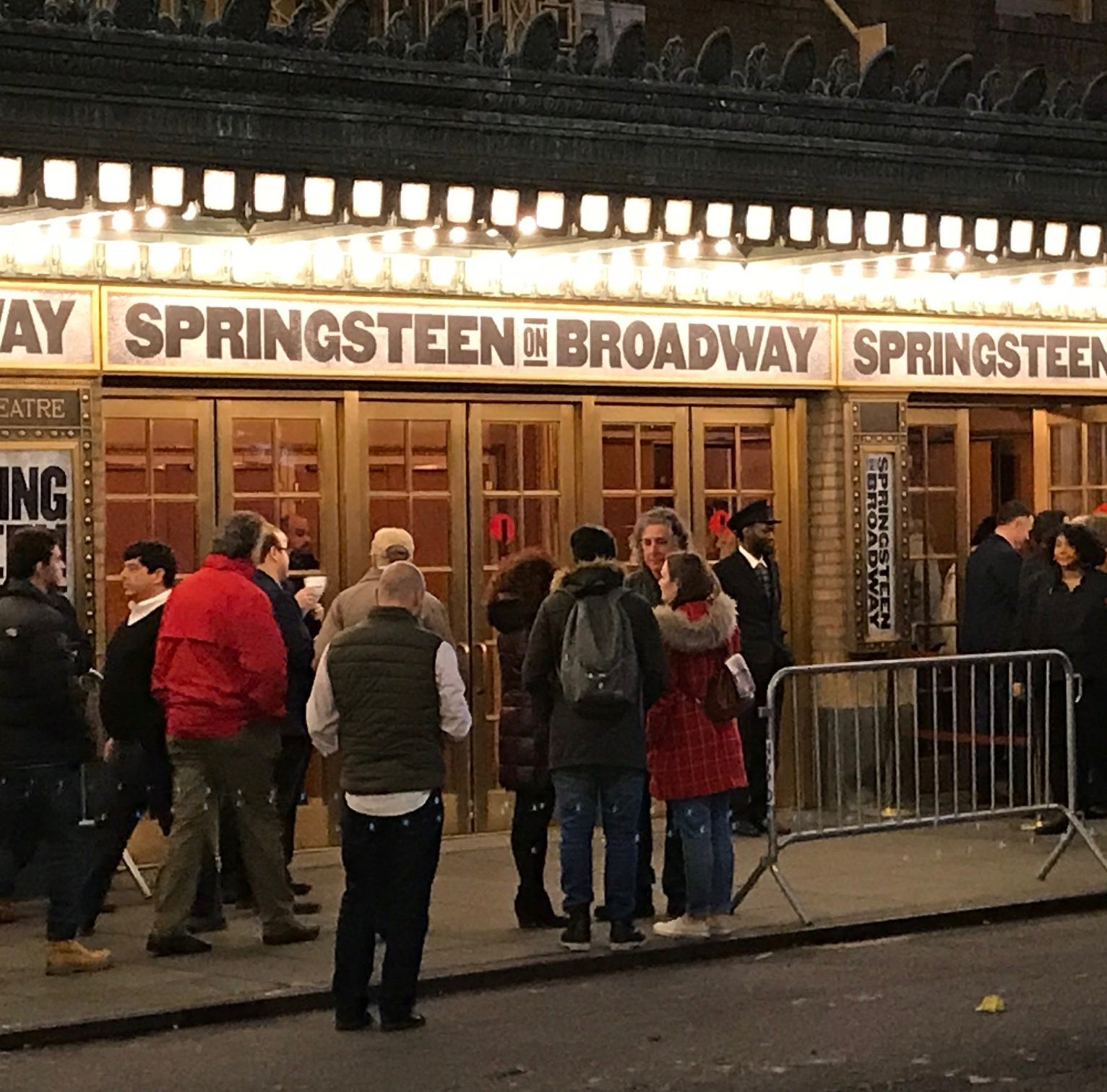 The scene outside the Walter Kerr Theatre on 48th Street in New York City prior to the final performance of 'Springsteen on Broadway' on Dec. 15, 2018.
