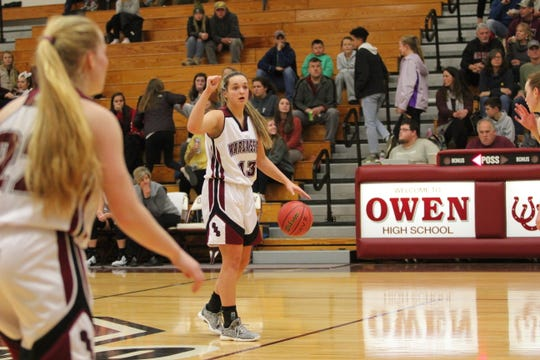 Chesney Gardner brings the ball up the floor for the Warlassies this season. The unexpected position change helped propel her to the best statistical season of her Owen career.