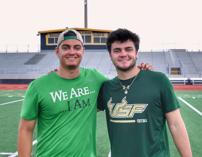 Matthew Beardall (left) and Andrew Beardall are brothers from Merritt Island whose teams meet in the Gasparilla Bowl. Courtesy Jay Beardall