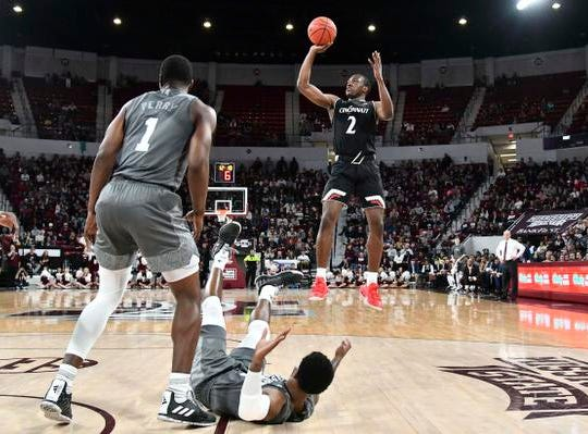 Dec 15, 2018; Starkville, MS, USA; Cincinnati Bearcats guard Keith Williams (2) goes up for a shot against the Mississippi State Bulldogs during the second half at Humphrey Coliseum. Mandatory Credit: Matt Bush-USA TODAY Sports