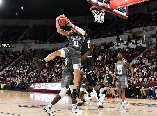 Dec 15, 2018; Starkville, MS, USA; Mississippi State Bulldogs guard Quinndary Weatherspoon (11) rebounds the ball against the Cincinnati Bearcats during the first half at Humphrey Coliseum. Mandatory Credit: Matt Bush-USA TODAY Sports