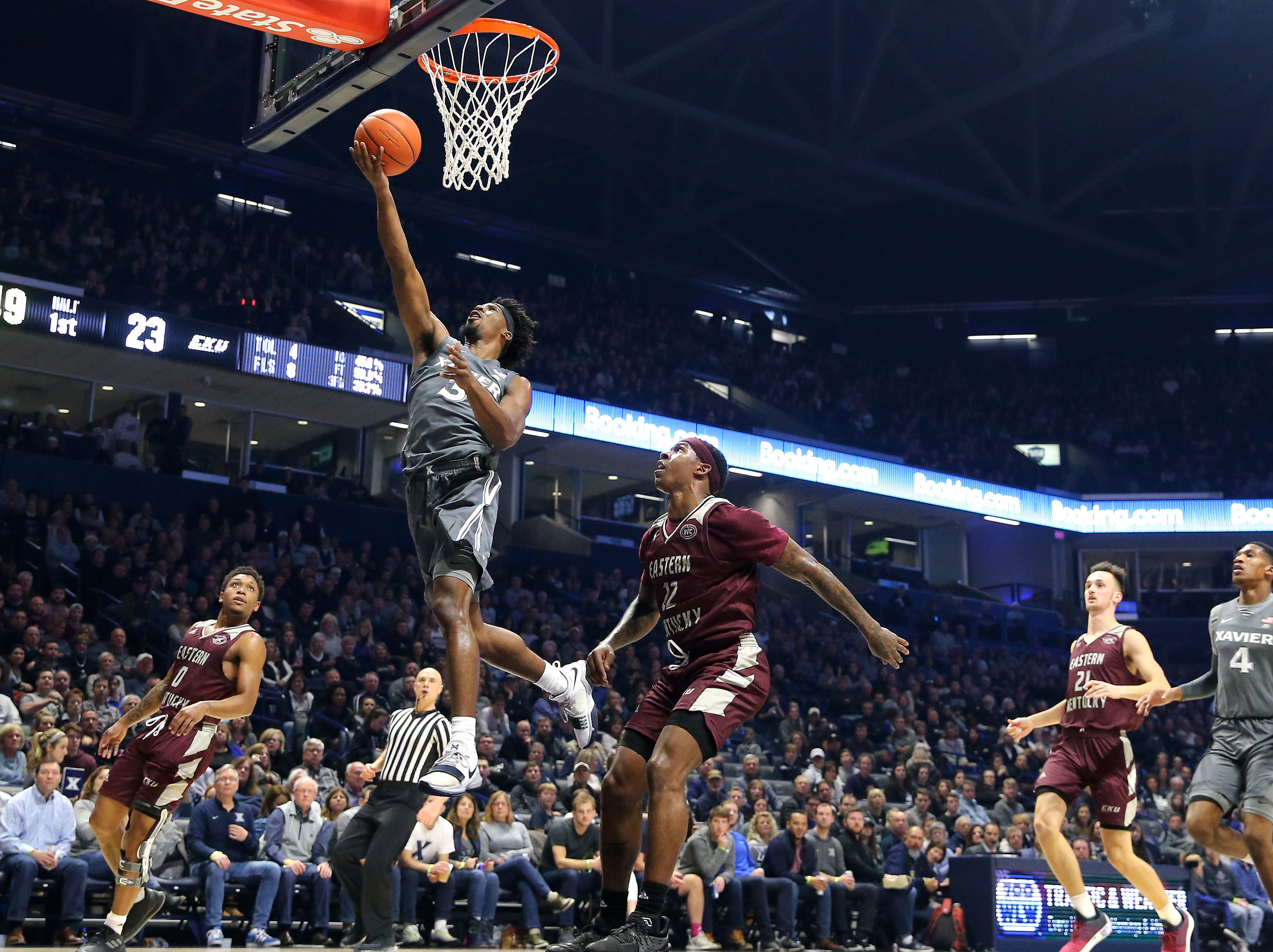 Xavier Musketeers guard Quentin Goodin (3) scores in the first half of an NCAA college basketball game against the Eastern Kentucky Colonels, Saturday, Dec. 15, 2018, at Cintas Center in Cincinnati, Ohio
